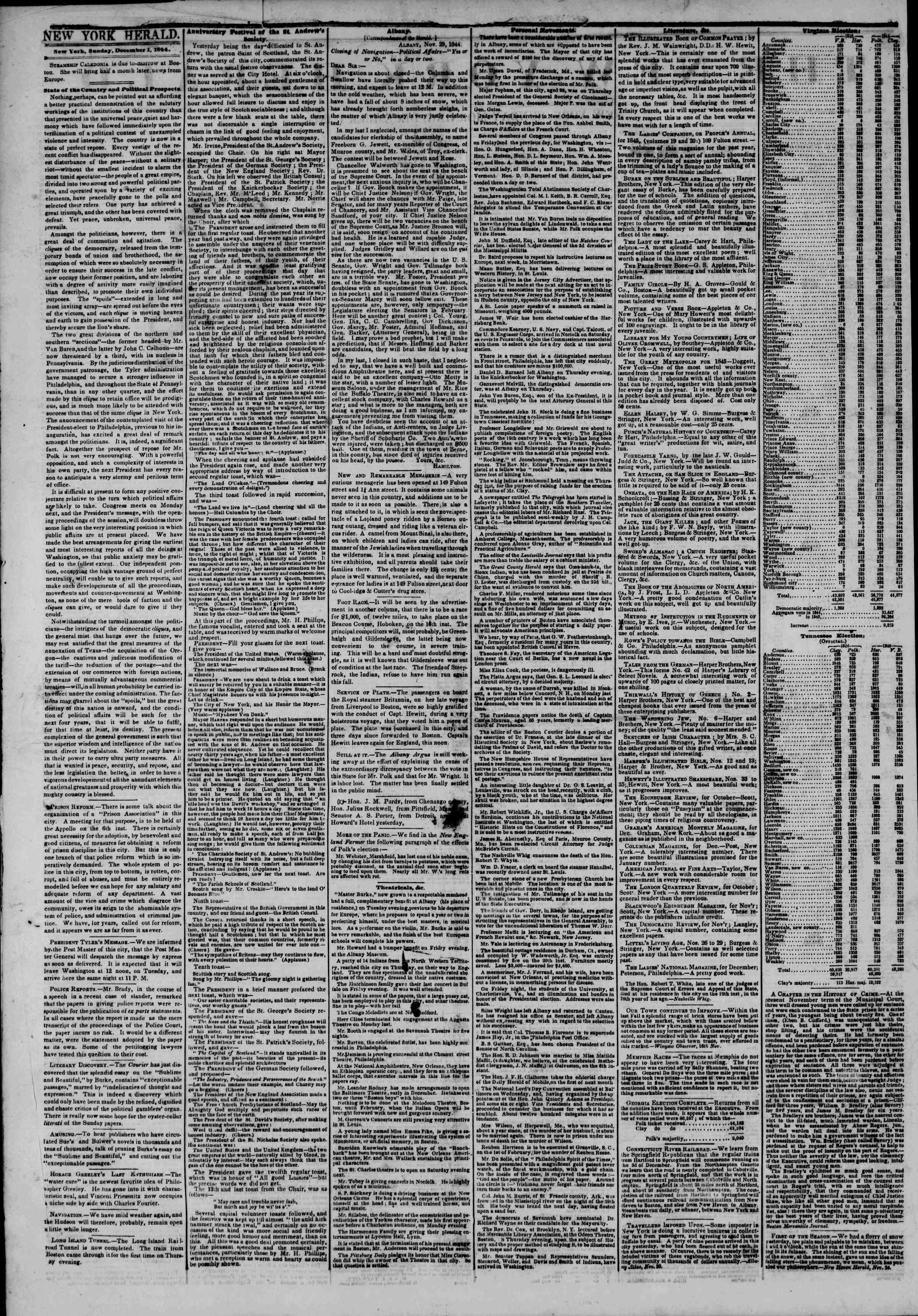 December 1, 1844 Tarihli The New York Herald Gazetesi Sayfa 2