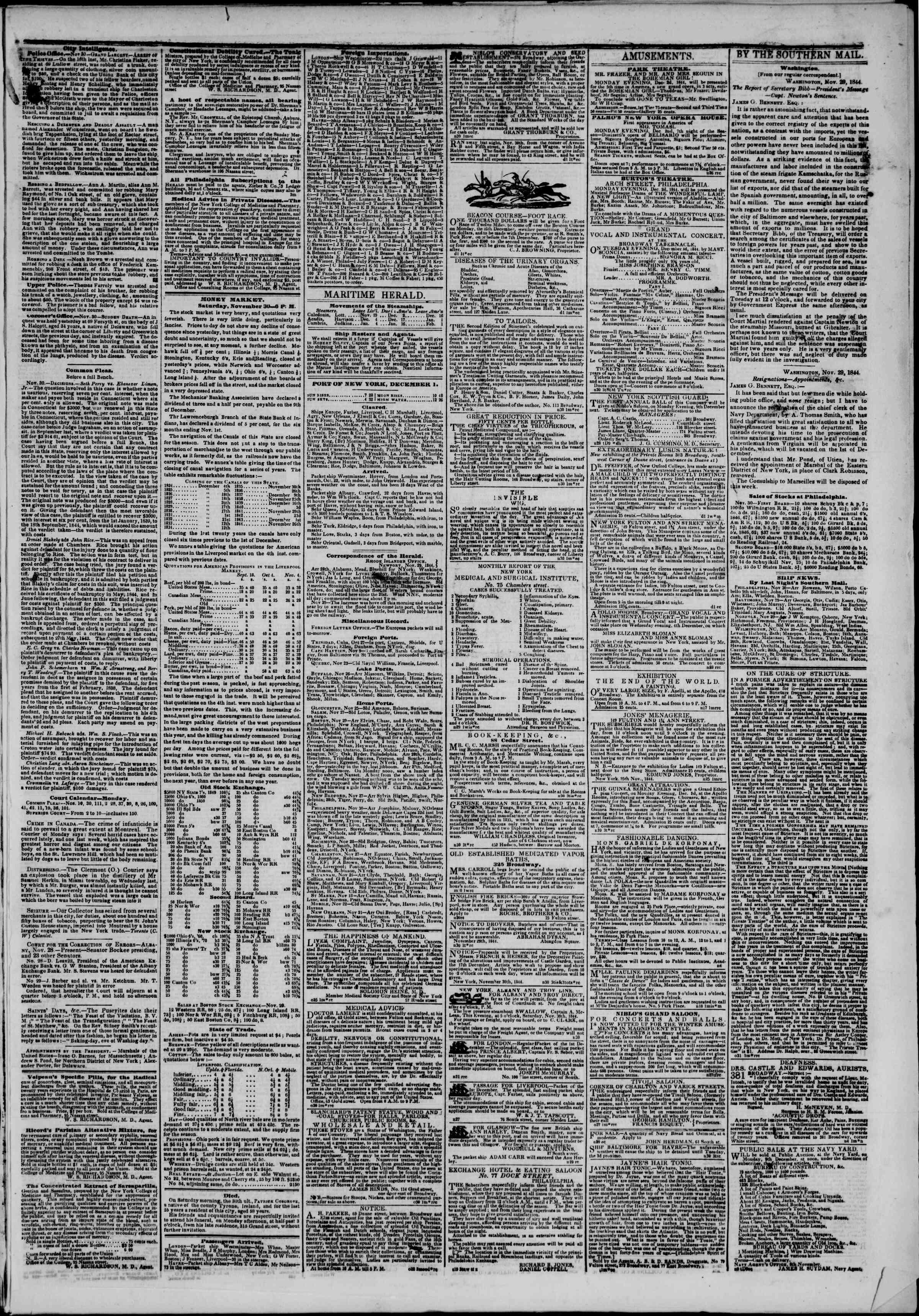 December 1, 1844 Tarihli The New York Herald Gazetesi Sayfa 3
