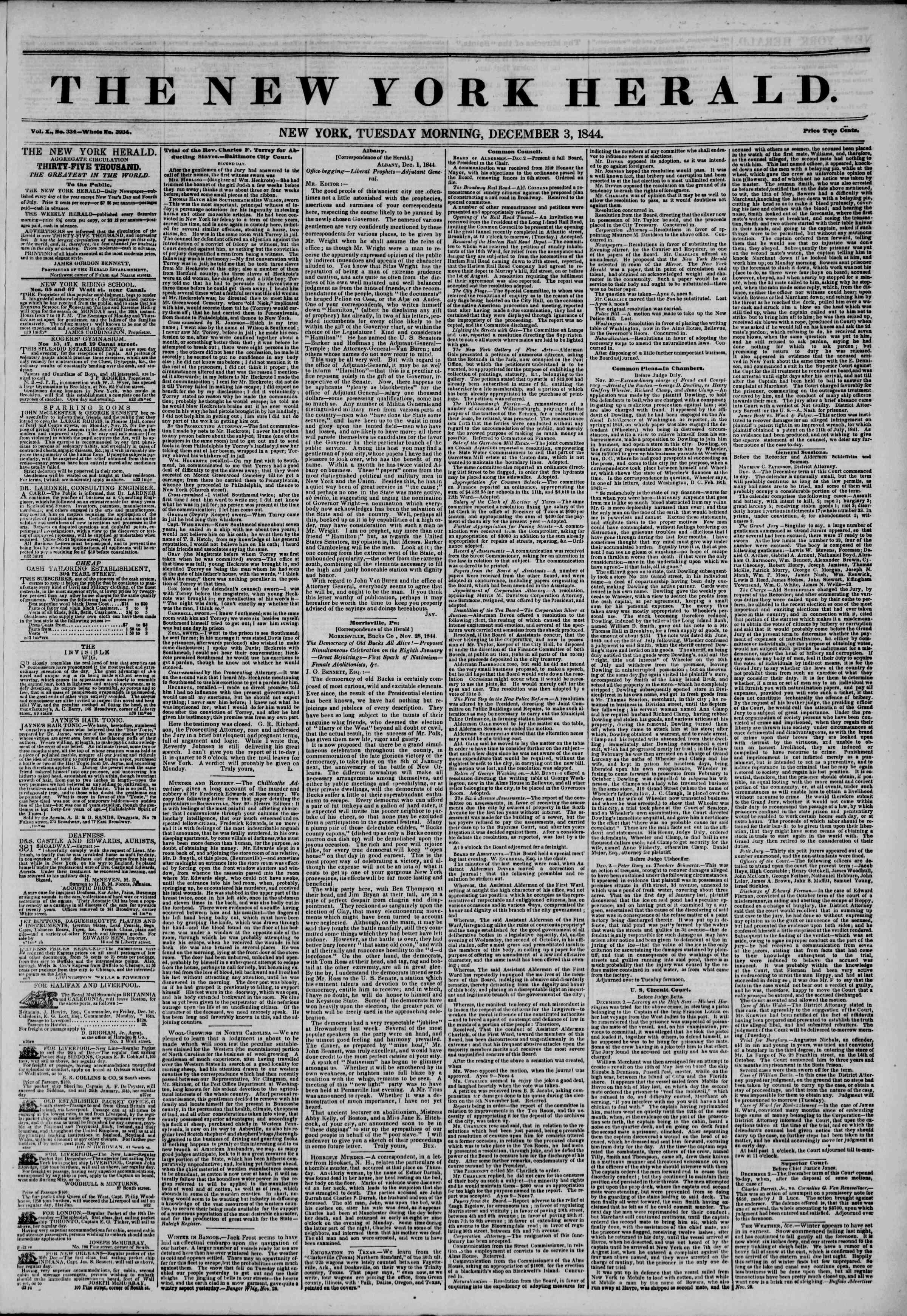 December 3, 1844 Tarihli The New York Herald Gazetesi Sayfa 1