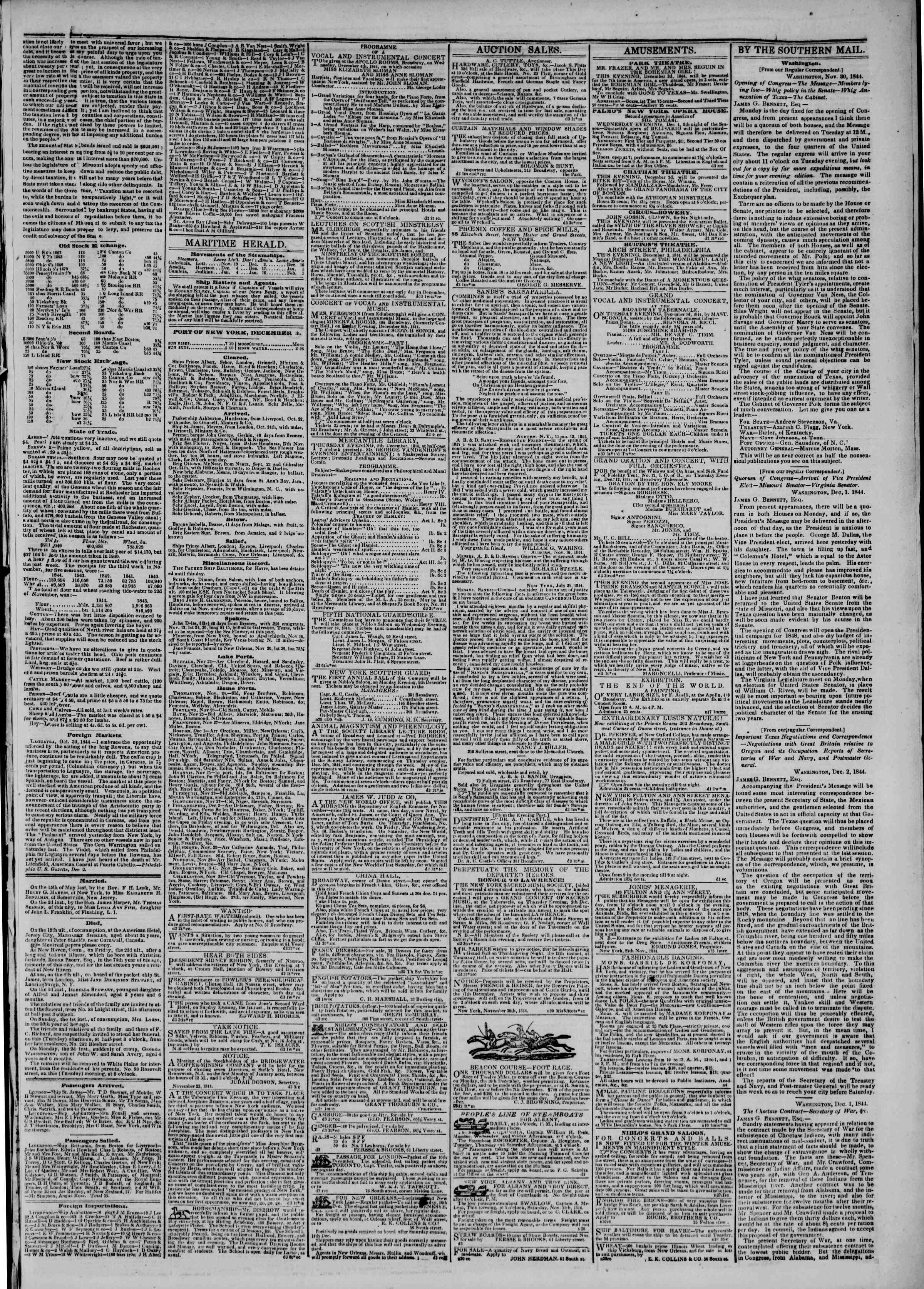 Newspaper of The New York Herald dated December 3, 1844 Page 3