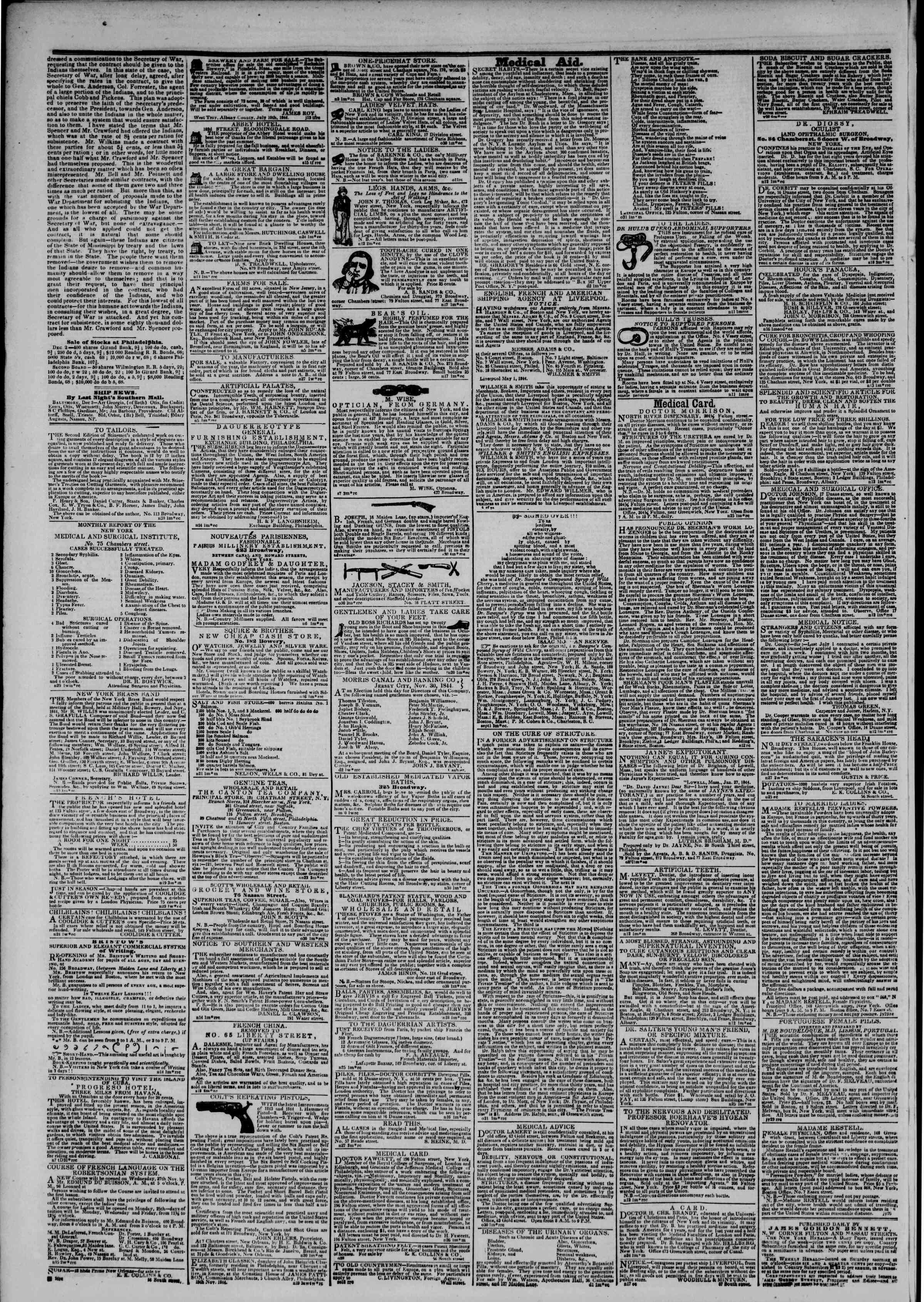 Newspaper of The New York Herald dated December 3, 1844 Page 4