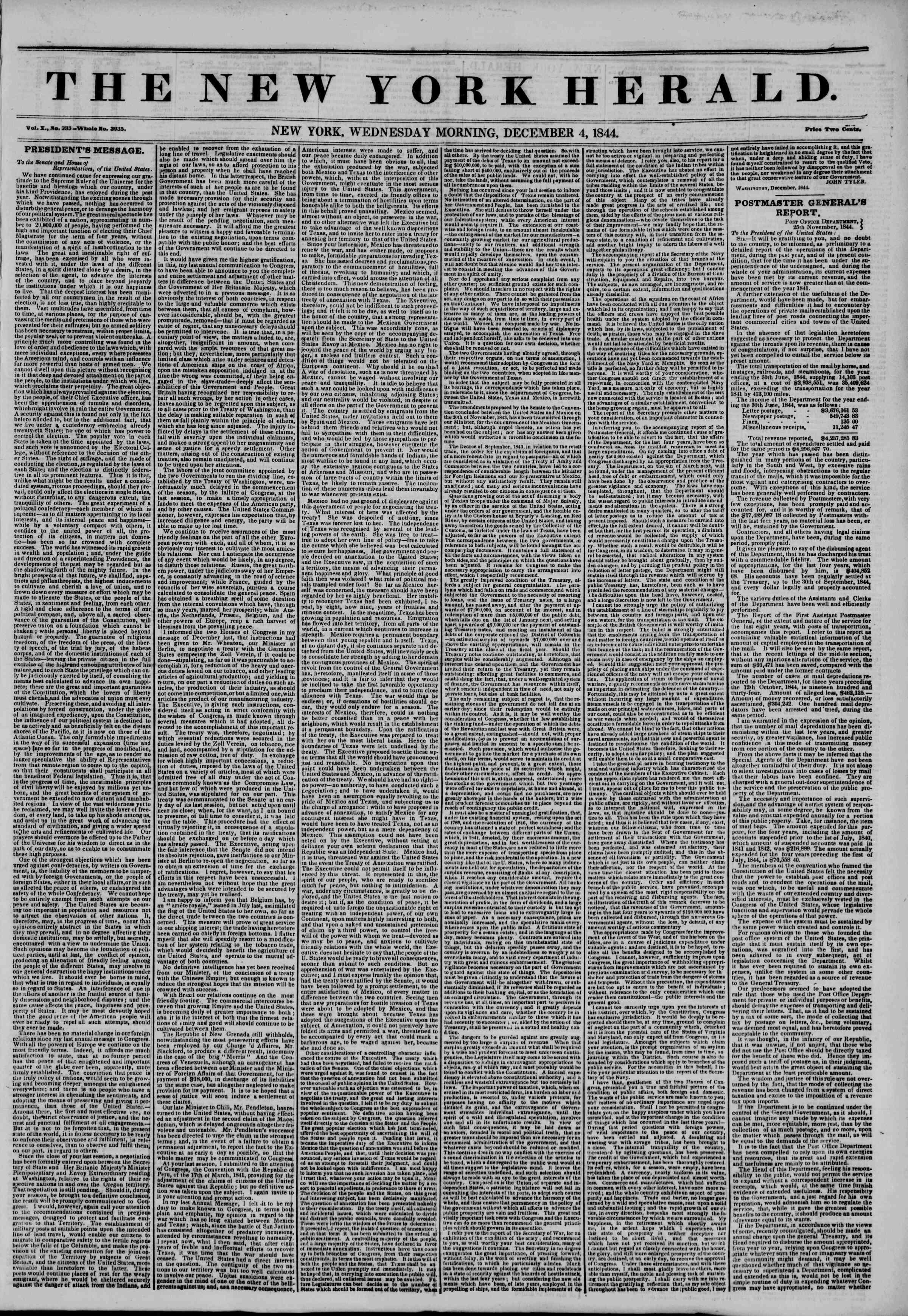 December 4, 1844 Tarihli The New York Herald Gazetesi Sayfa 1