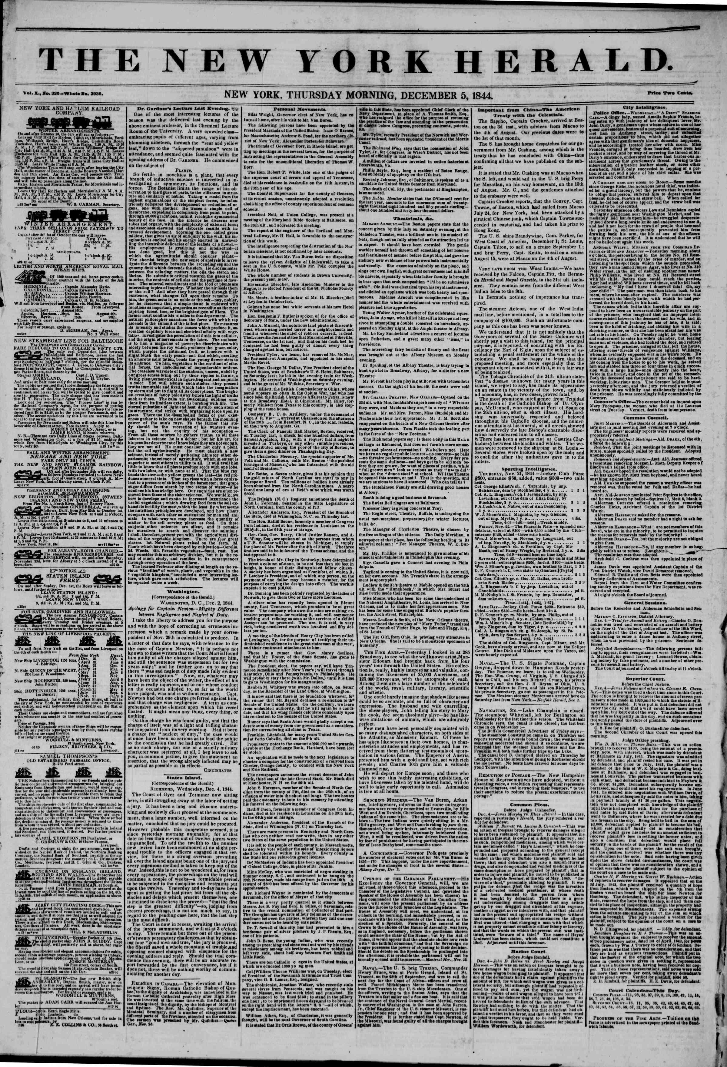 December 5, 1844 Tarihli The New York Herald Gazetesi Sayfa 1