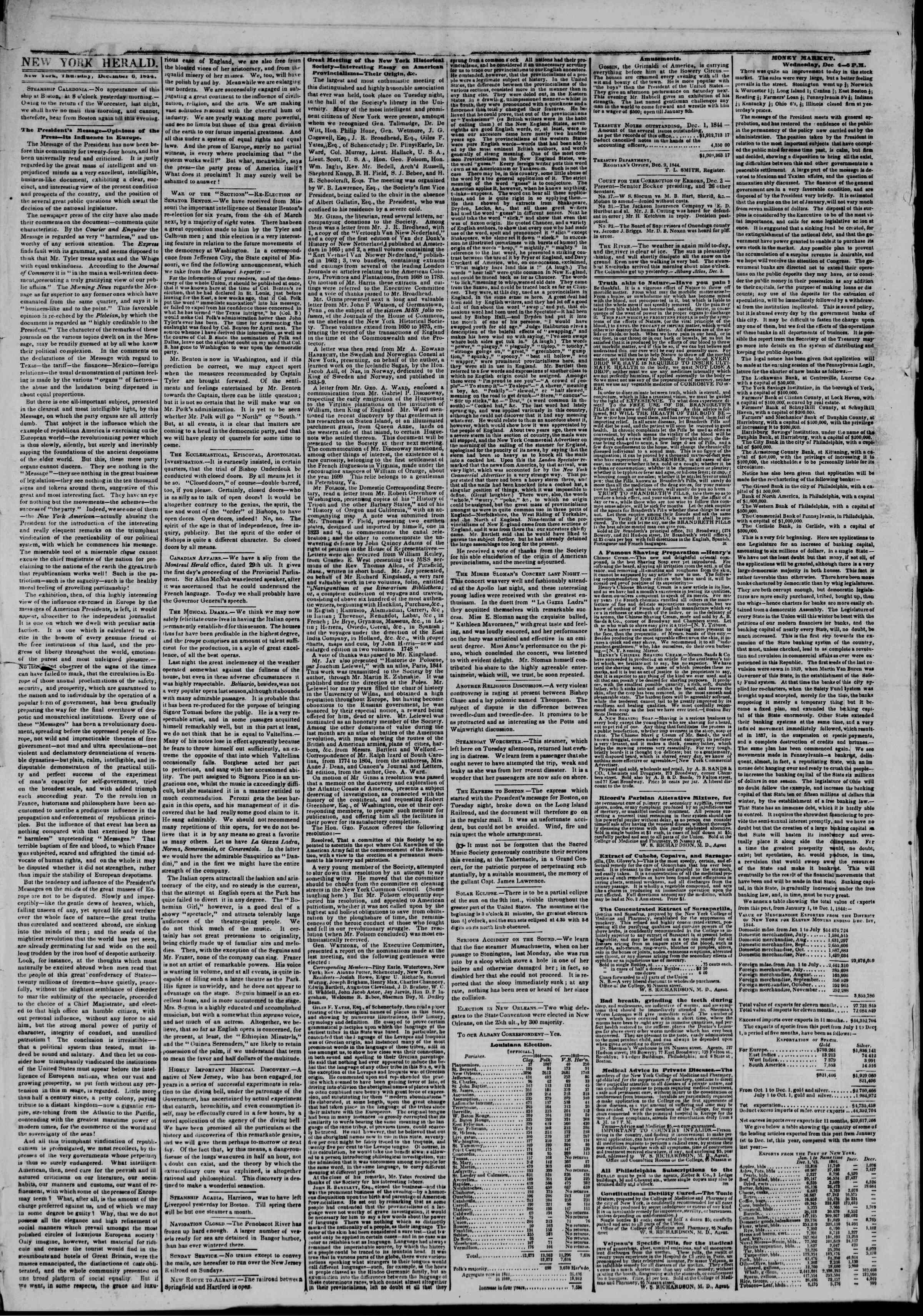 5 Aralık 1844 Tarihli The New York Herald Gazetesi Sayfa 2