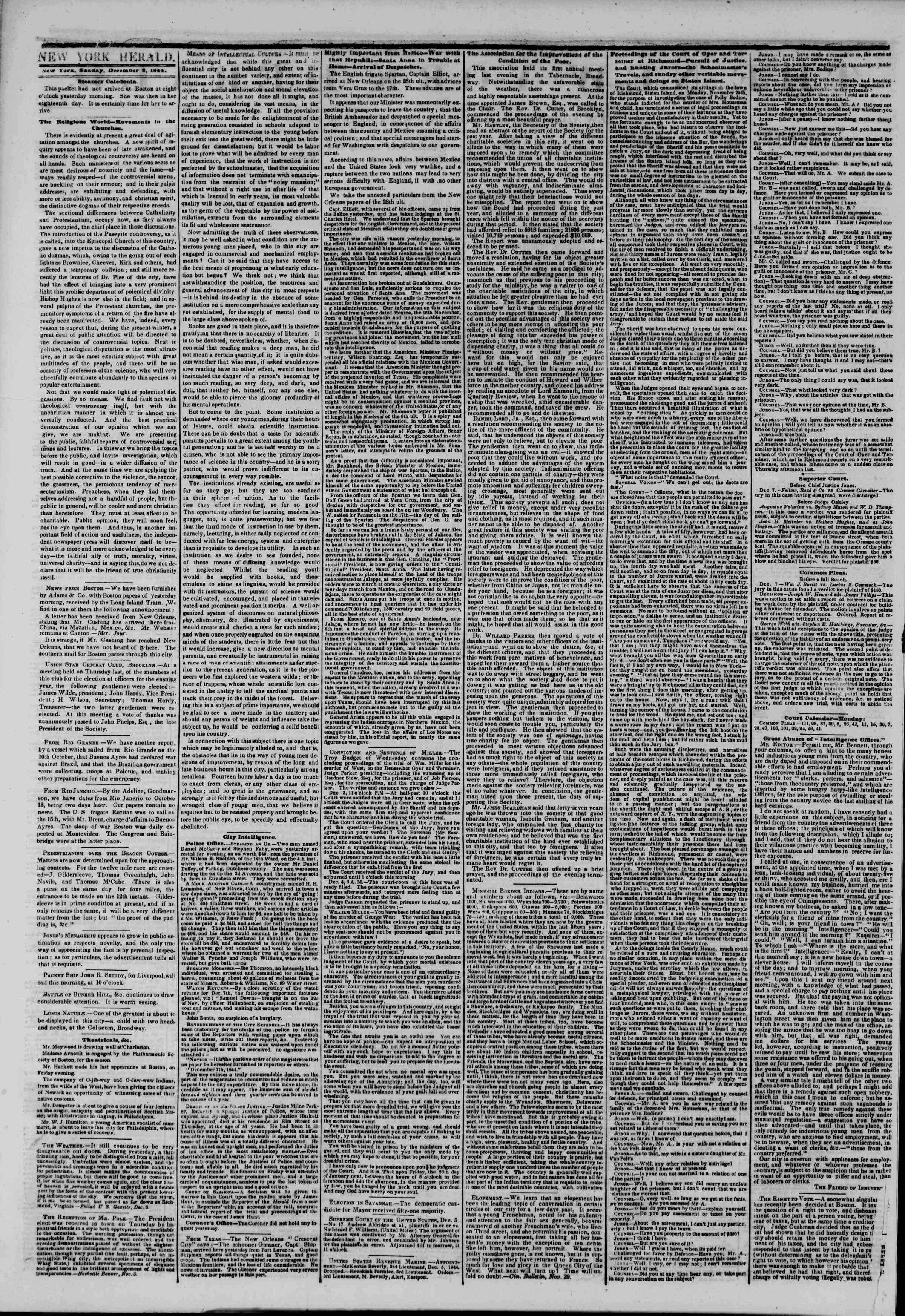 8 Aralık 1844 Tarihli The New York Herald Gazetesi Sayfa 2