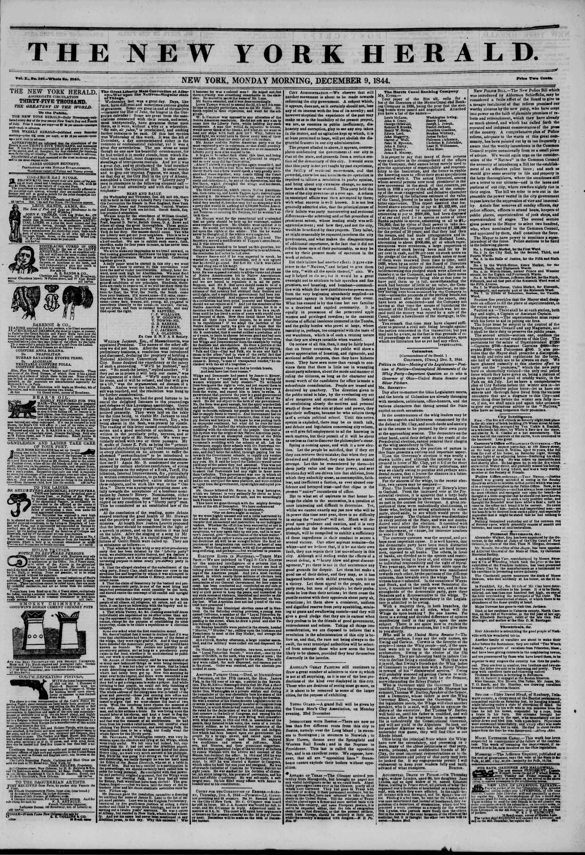 December 9, 1844 Tarihli The New York Herald Gazetesi Sayfa 1