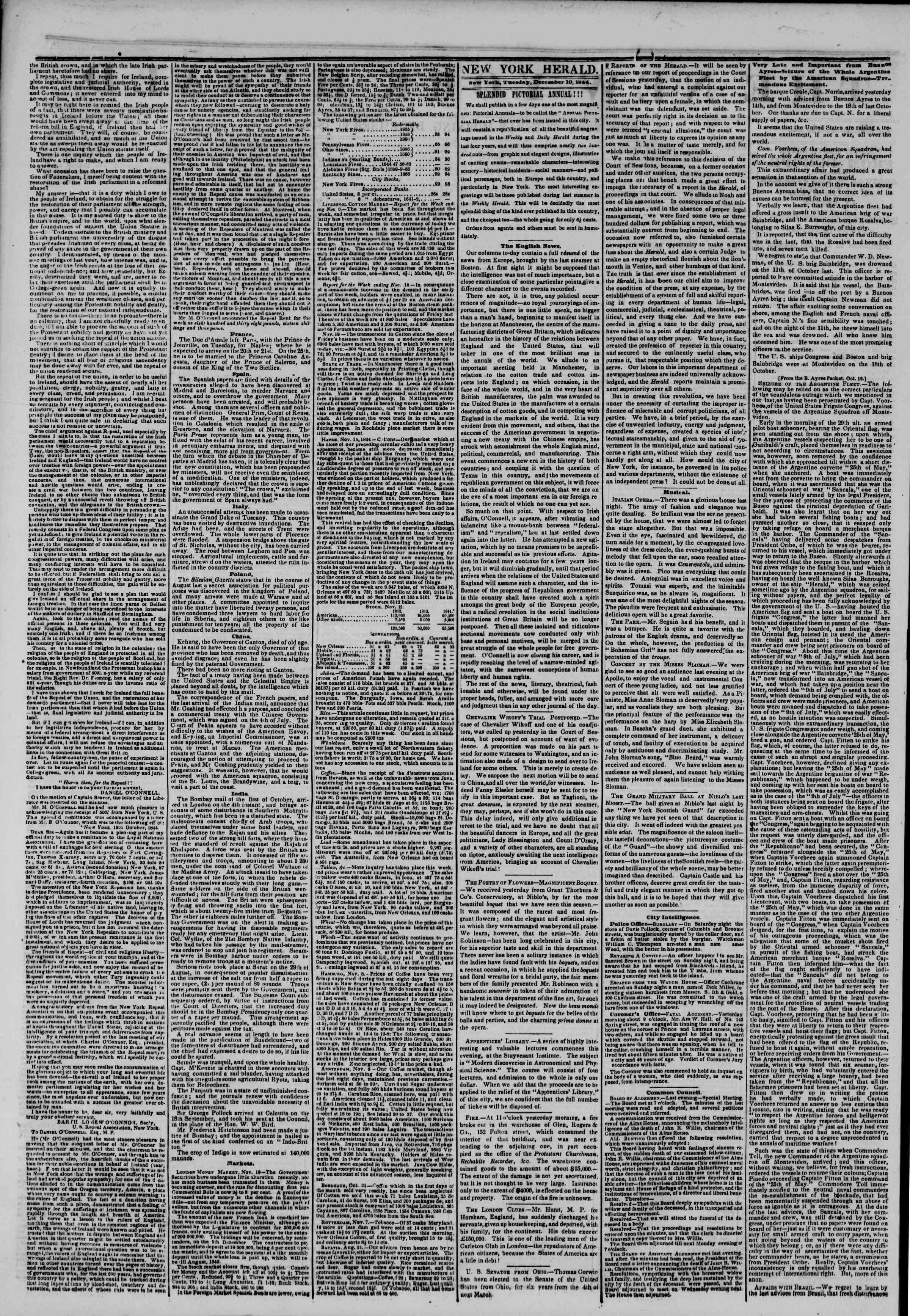 December 10, 1844 Tarihli The New York Herald Gazetesi Sayfa 2
