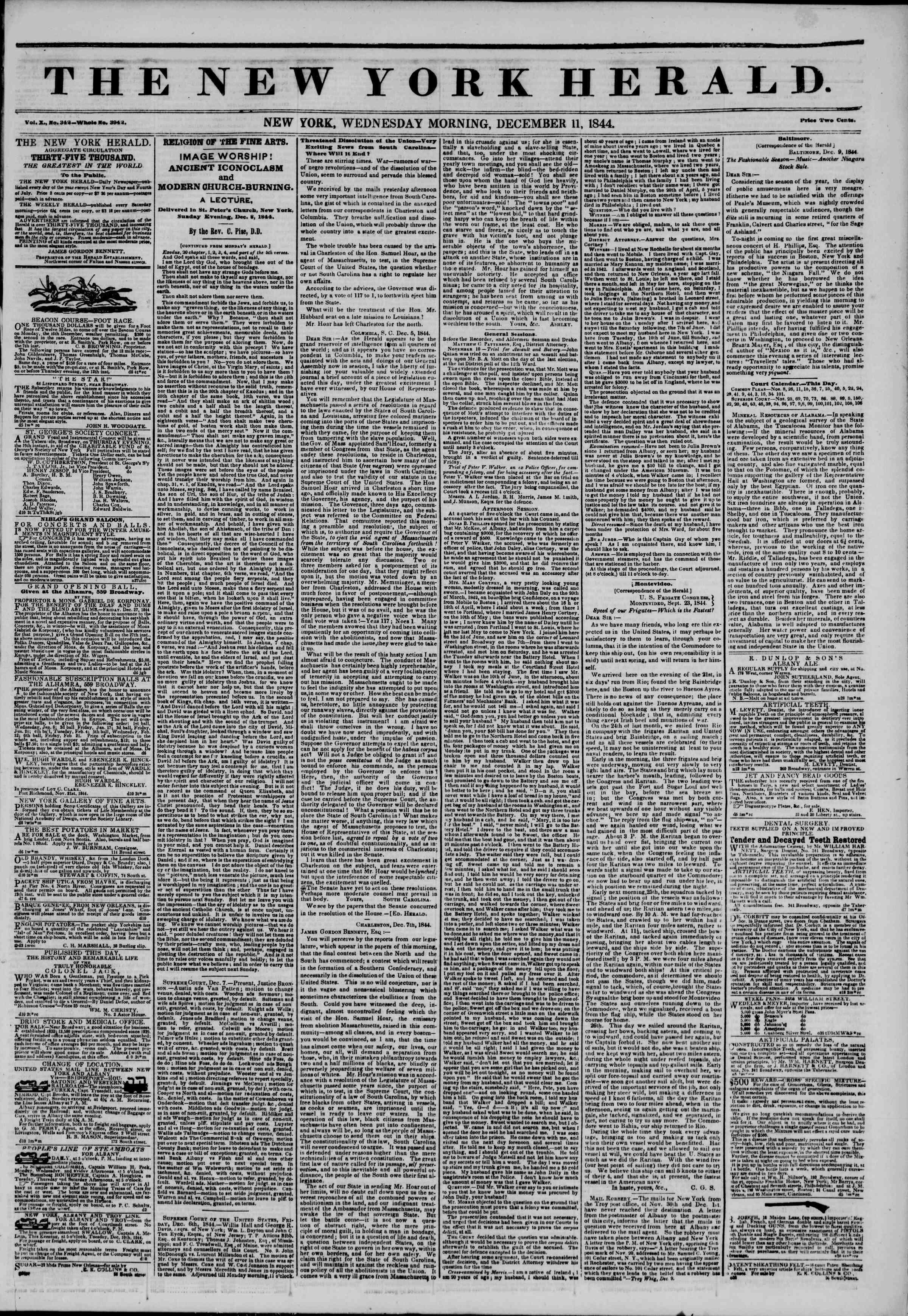 December 11, 1844 Tarihli The New York Herald Gazetesi Sayfa 1