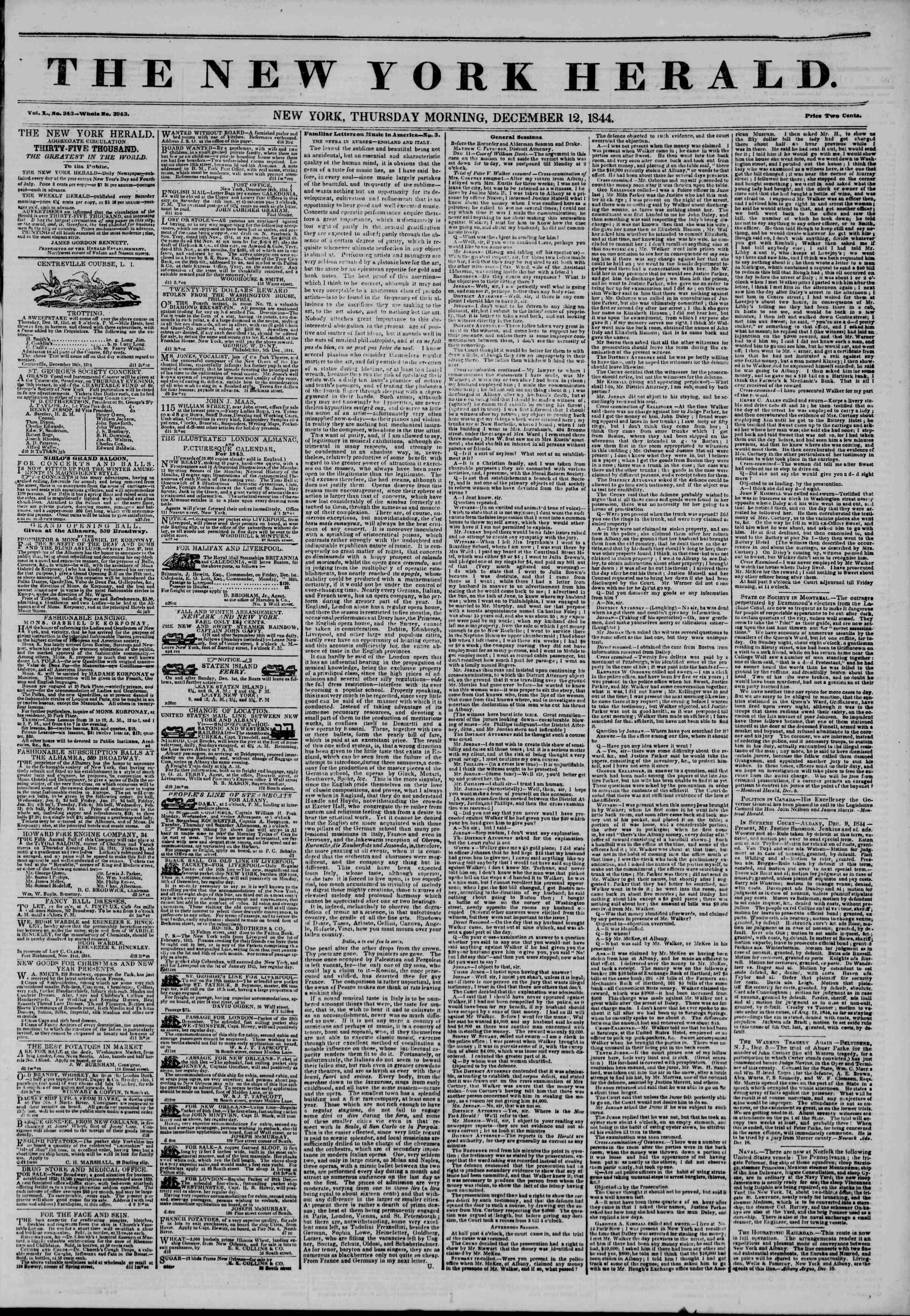 December 12, 1844 Tarihli The New York Herald Gazetesi Sayfa 1