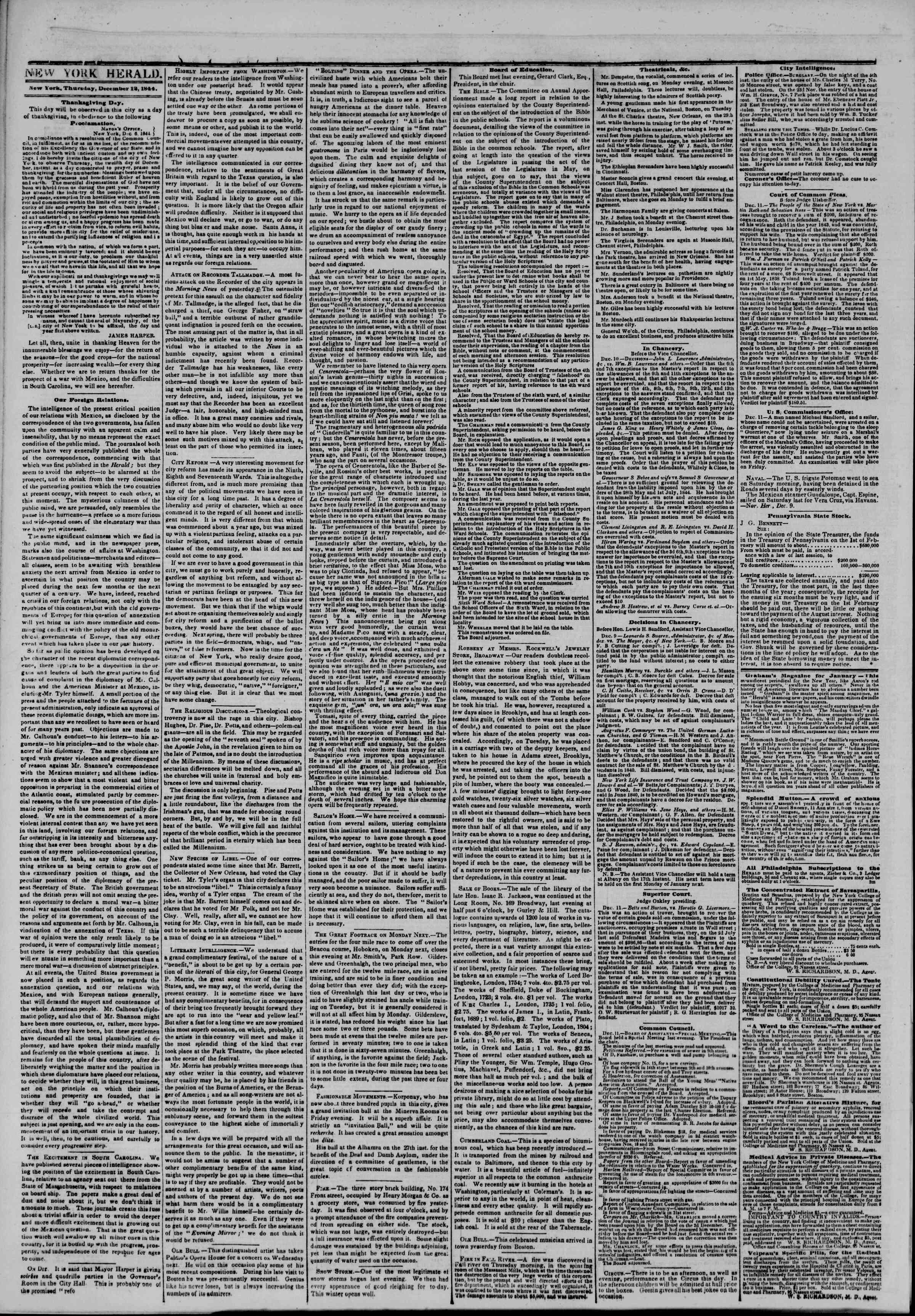 Newspaper of The New York Herald dated December 12, 1844 Page 2