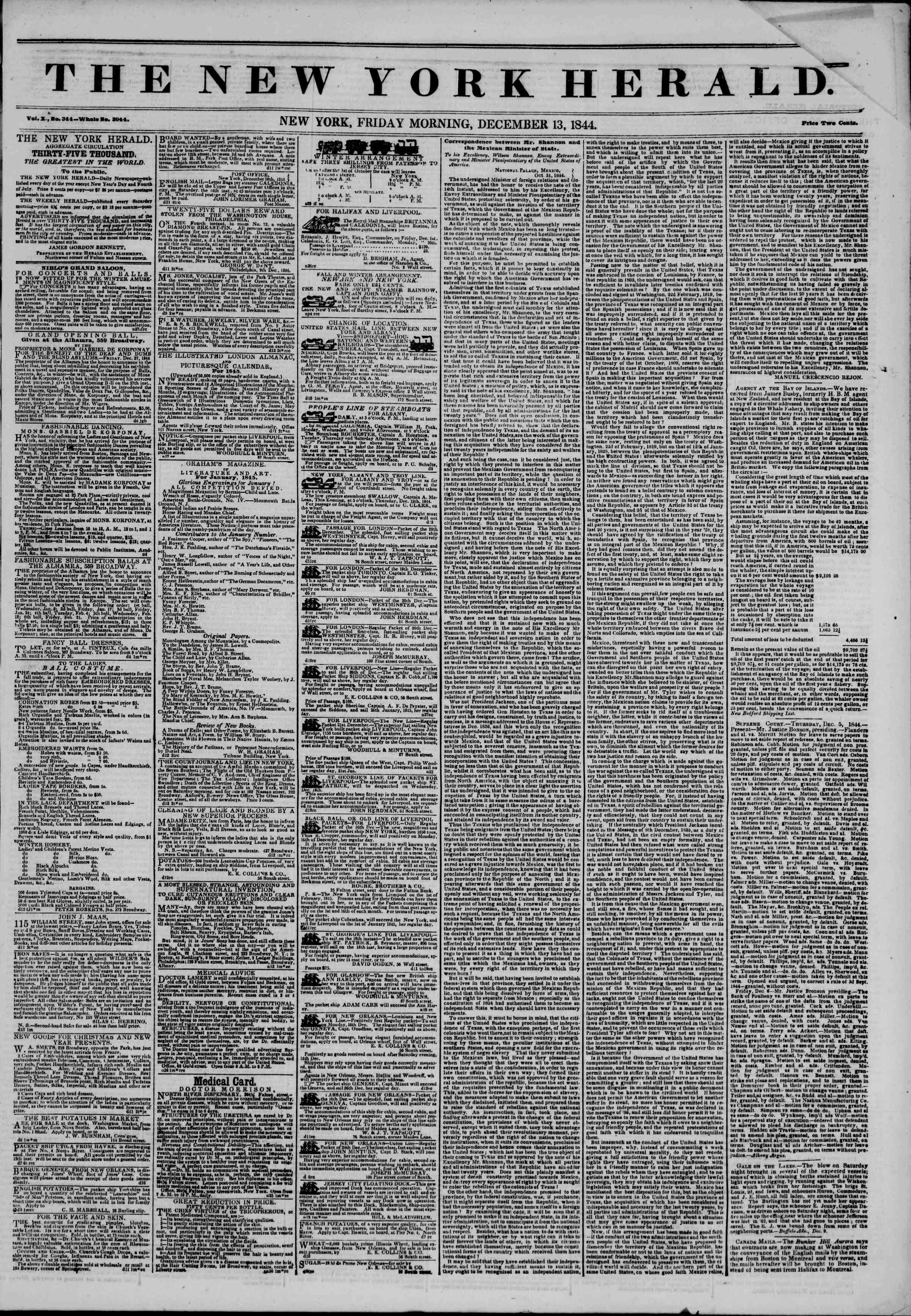 December 13, 1844 Tarihli The New York Herald Gazetesi Sayfa 1