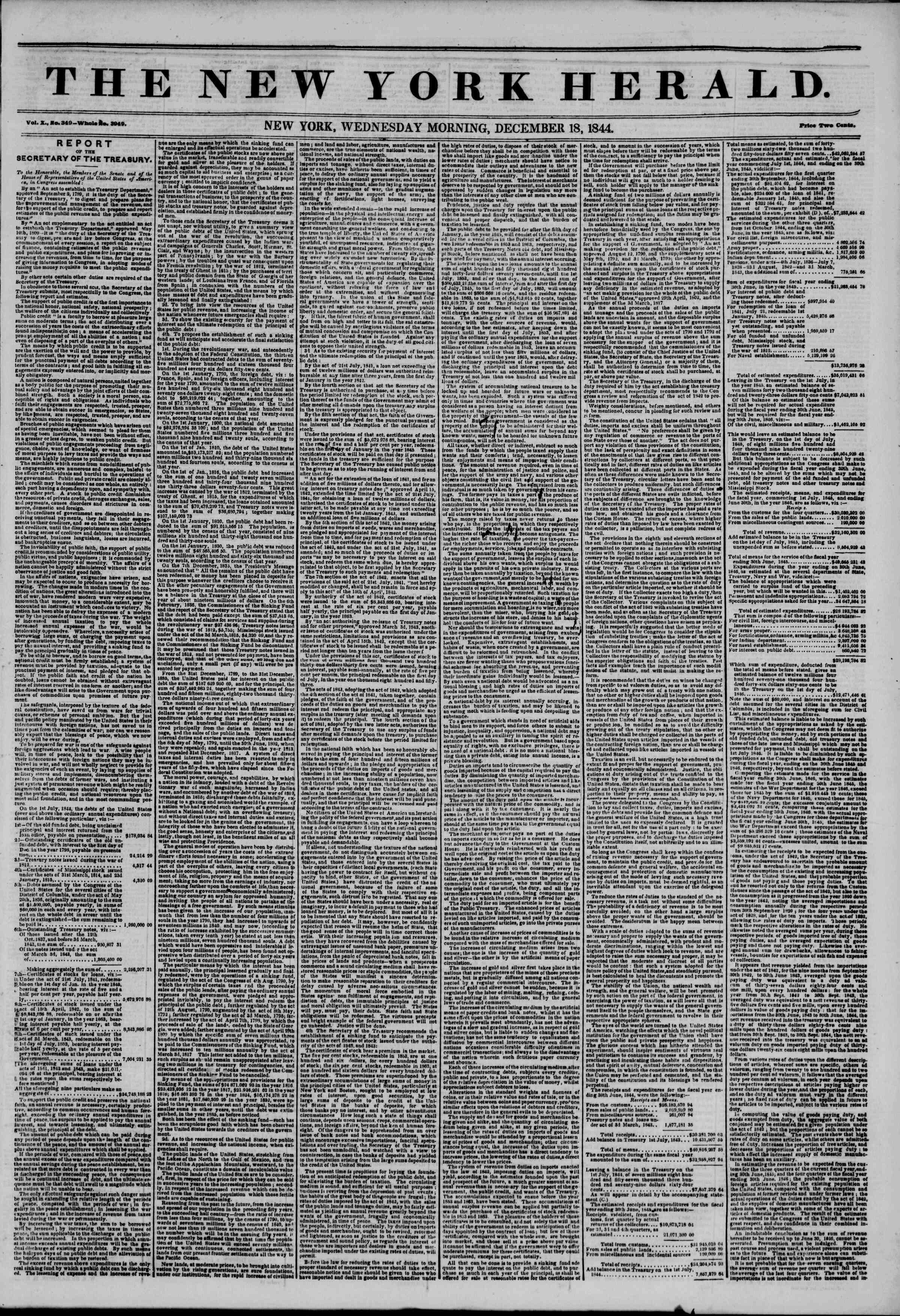 December 18, 1844 Tarihli The New York Herald Gazetesi Sayfa 1