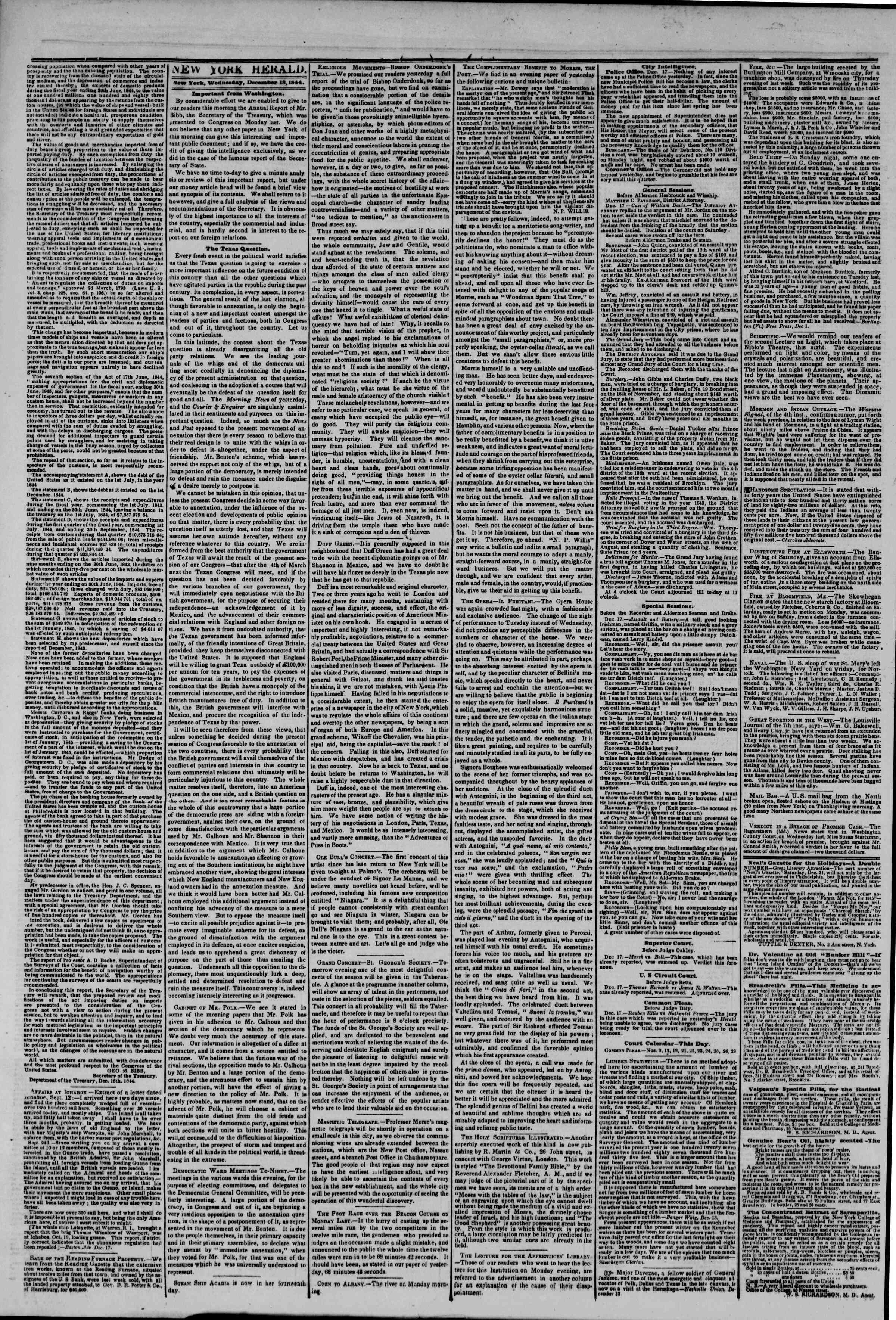 Newspaper of The New York Herald dated December 18, 1844 Page 2