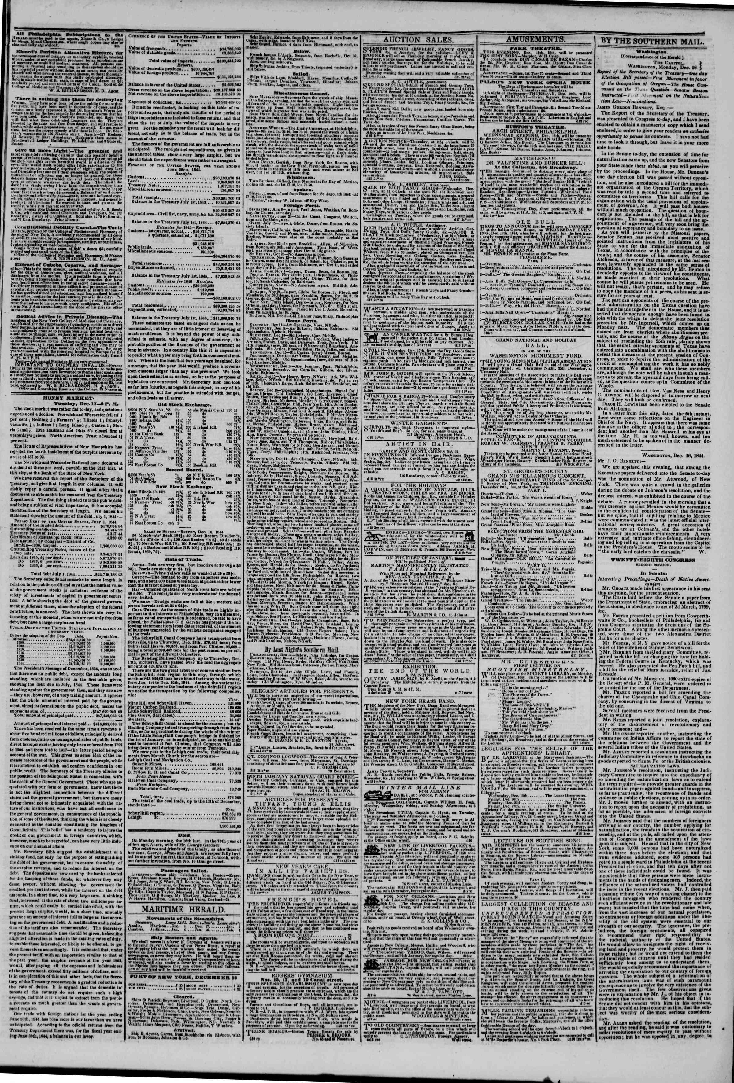 December 18, 1844 Tarihli The New York Herald Gazetesi Sayfa 3