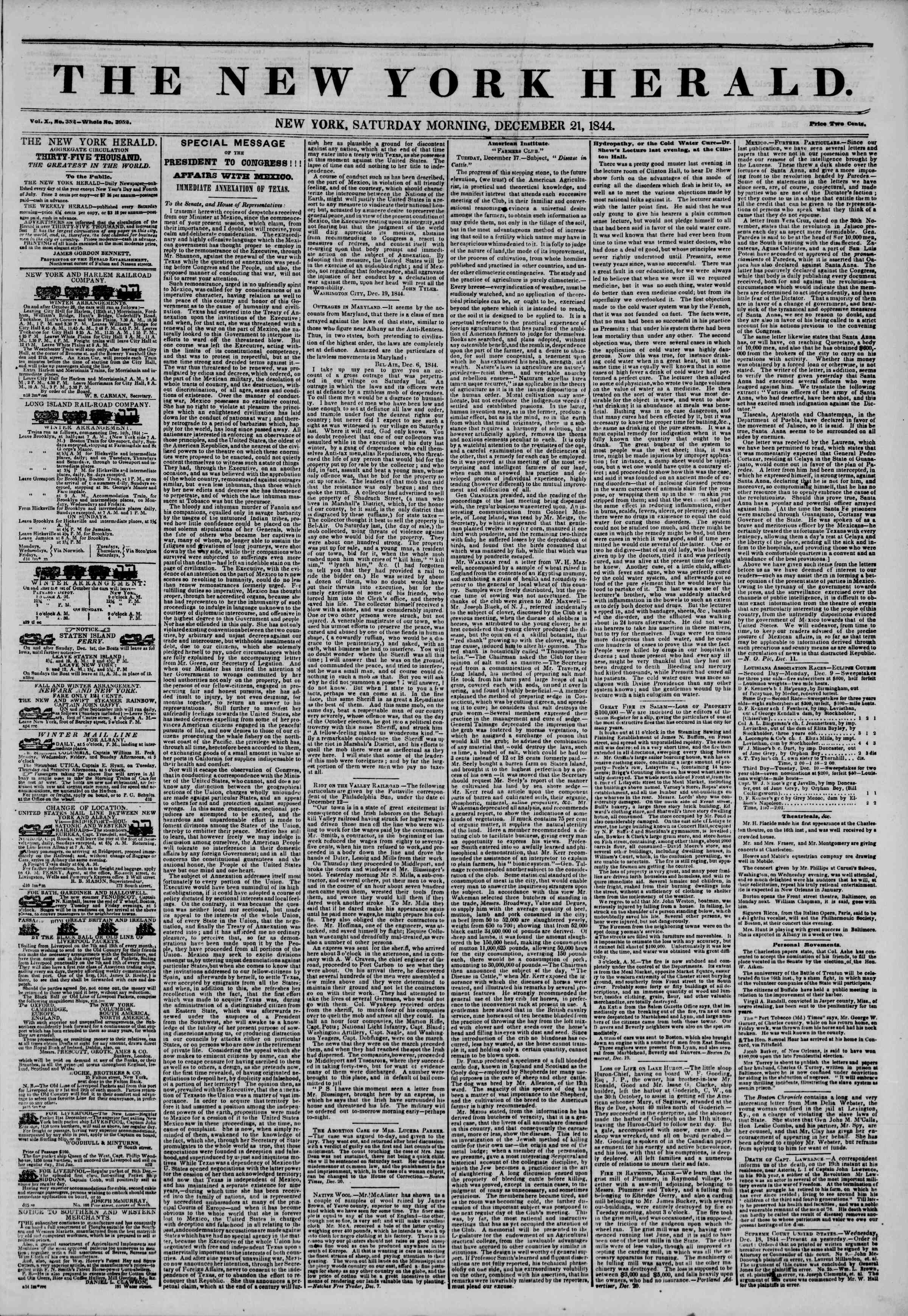 Newspaper of The New York Herald dated December 21, 1844 Page 1