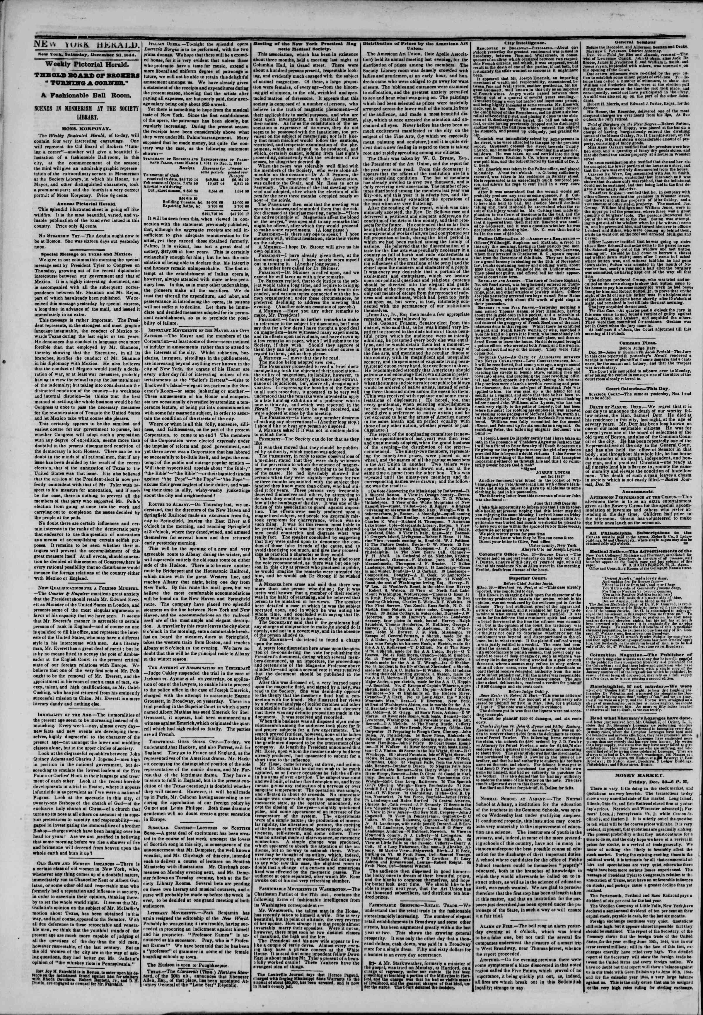 December 21, 1844 Tarihli The New York Herald Gazetesi Sayfa 2