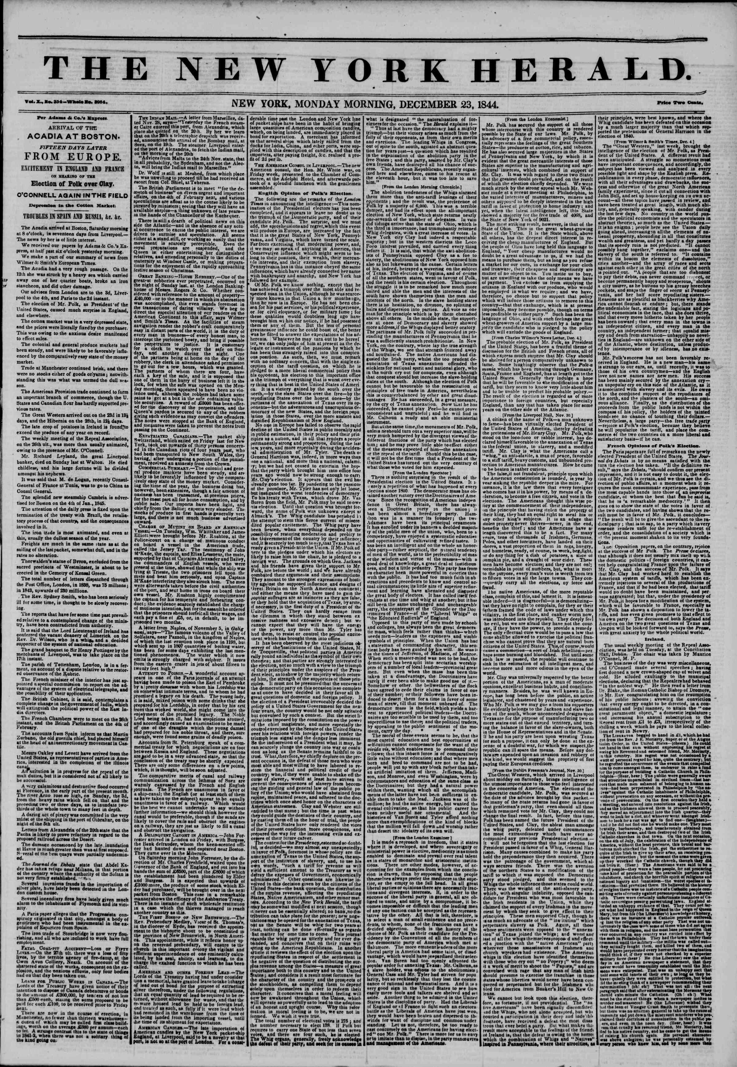 December 23, 1844 Tarihli The New York Herald Gazetesi Sayfa 1