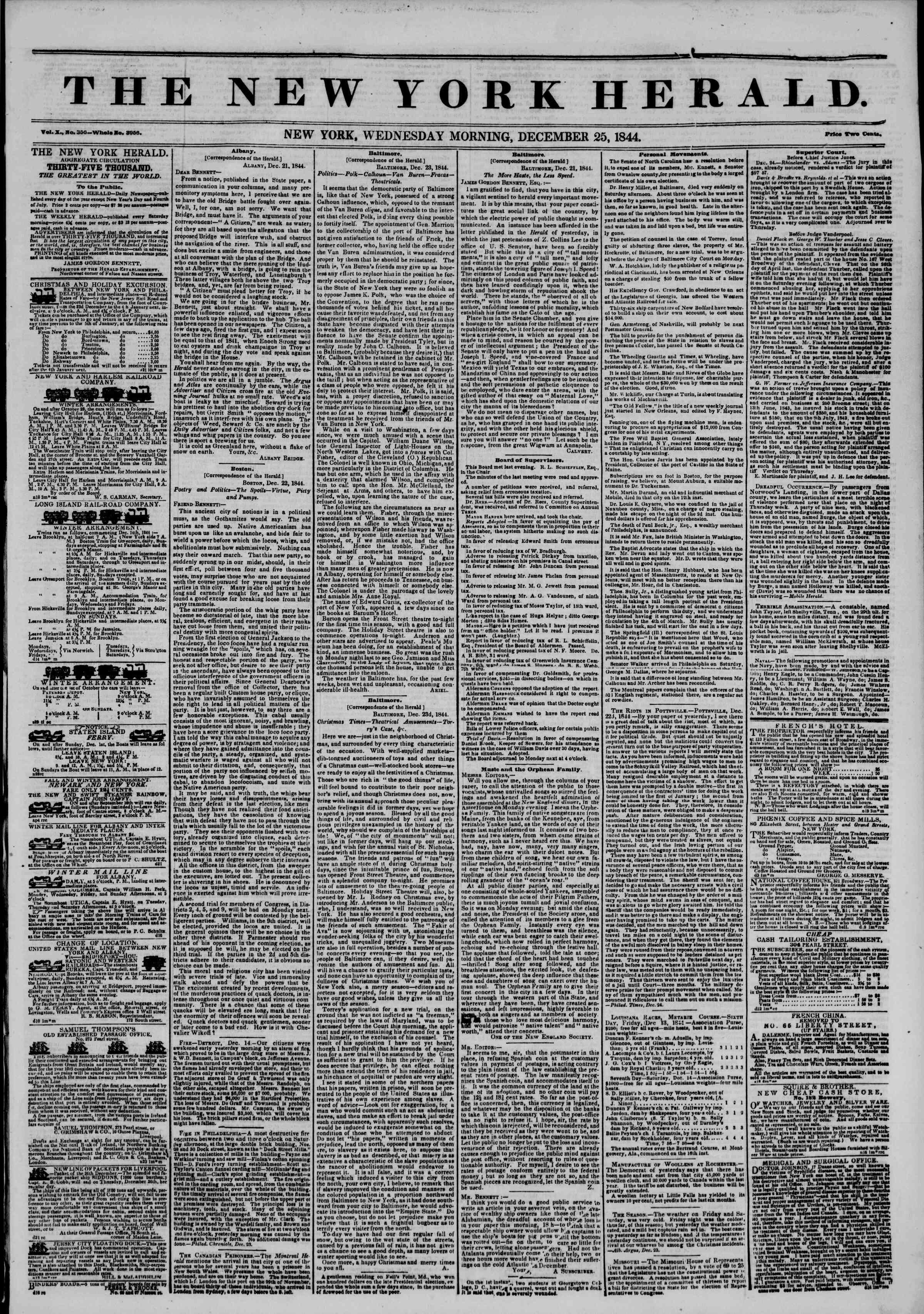 December 25, 1844 Tarihli The New York Herald Gazetesi Sayfa 1