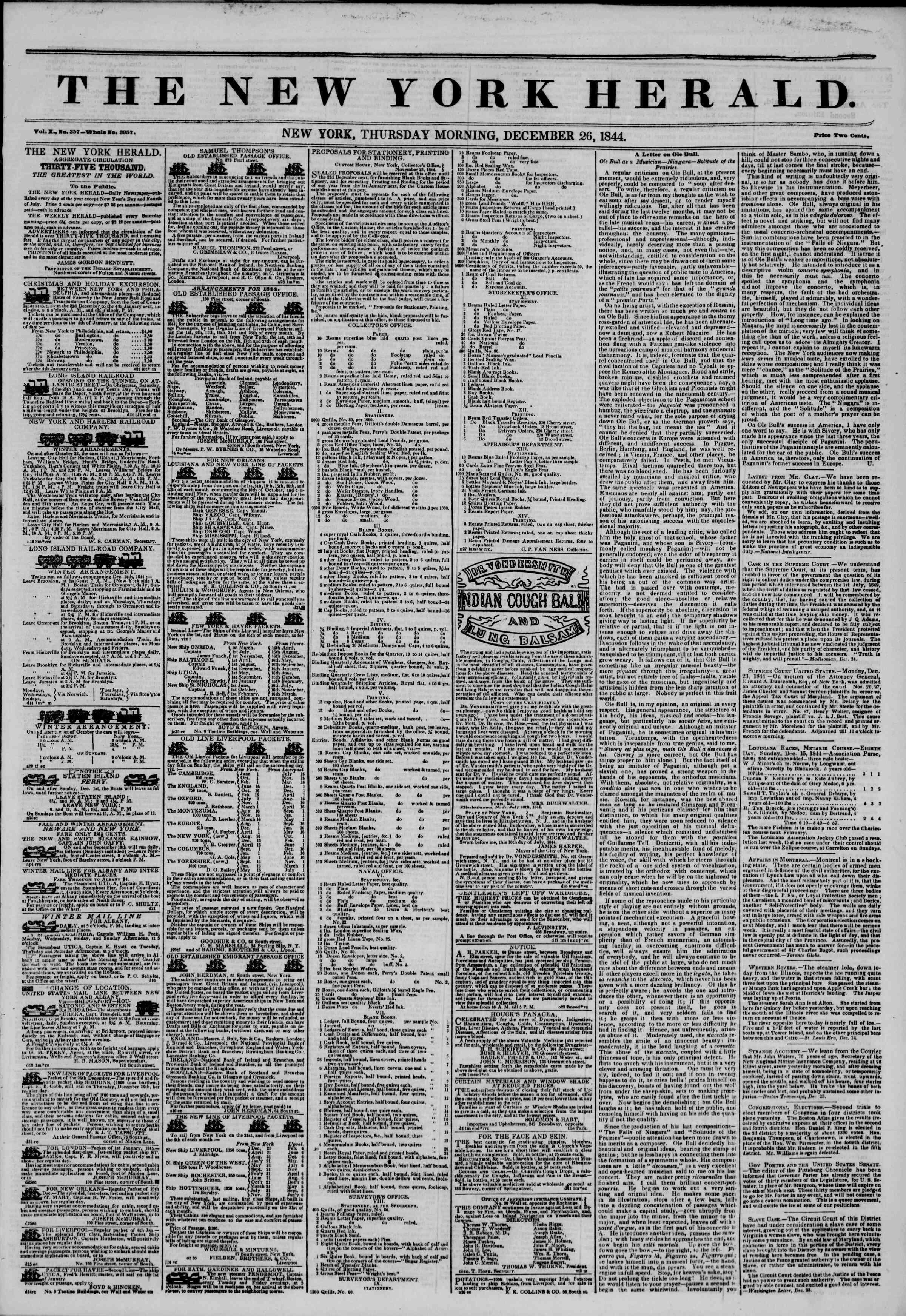 December 26, 1844 Tarihli The New York Herald Gazetesi Sayfa 1