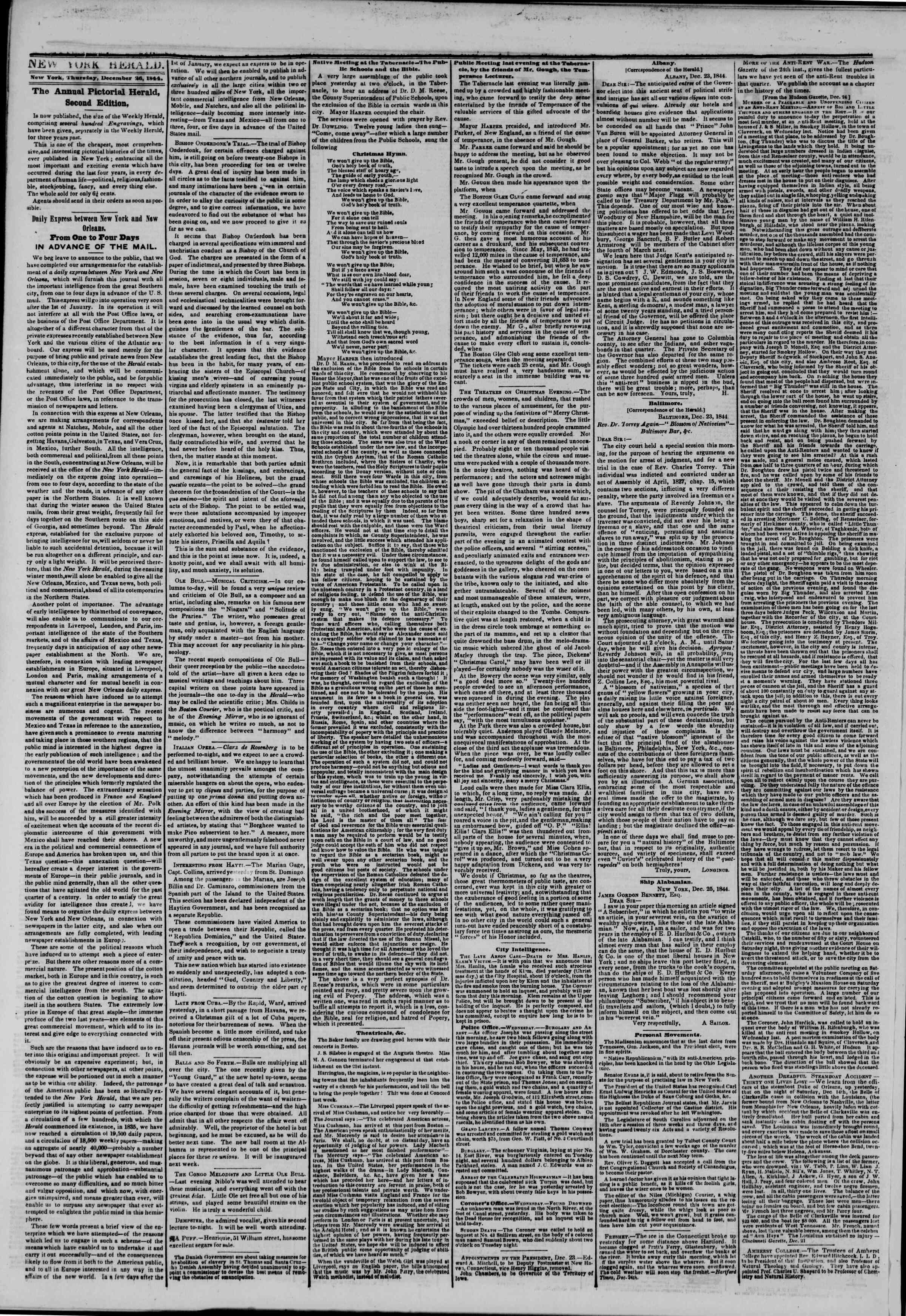 December 26, 1844 Tarihli The New York Herald Gazetesi Sayfa 2