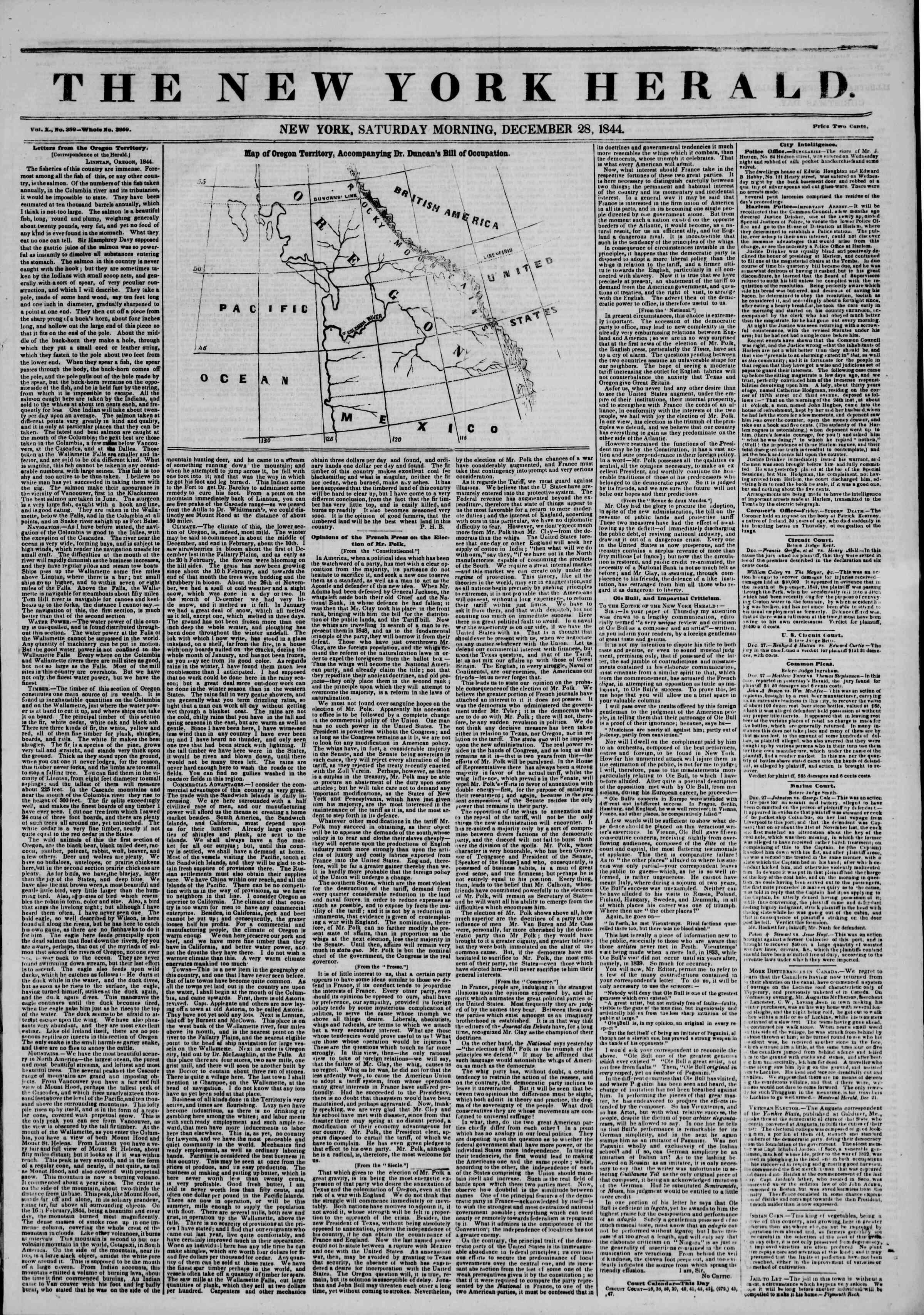 December 28, 1844 Tarihli The New York Herald Gazetesi Sayfa 1