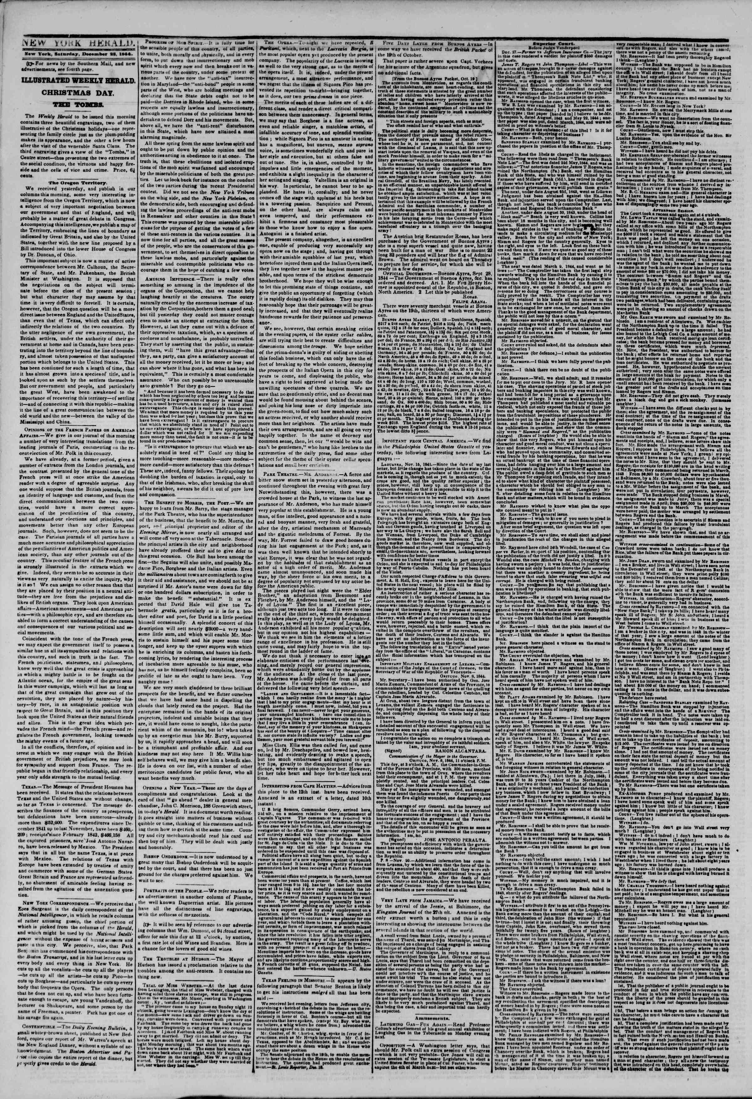Newspaper of The New York Herald dated December 28, 1844 Page 2
