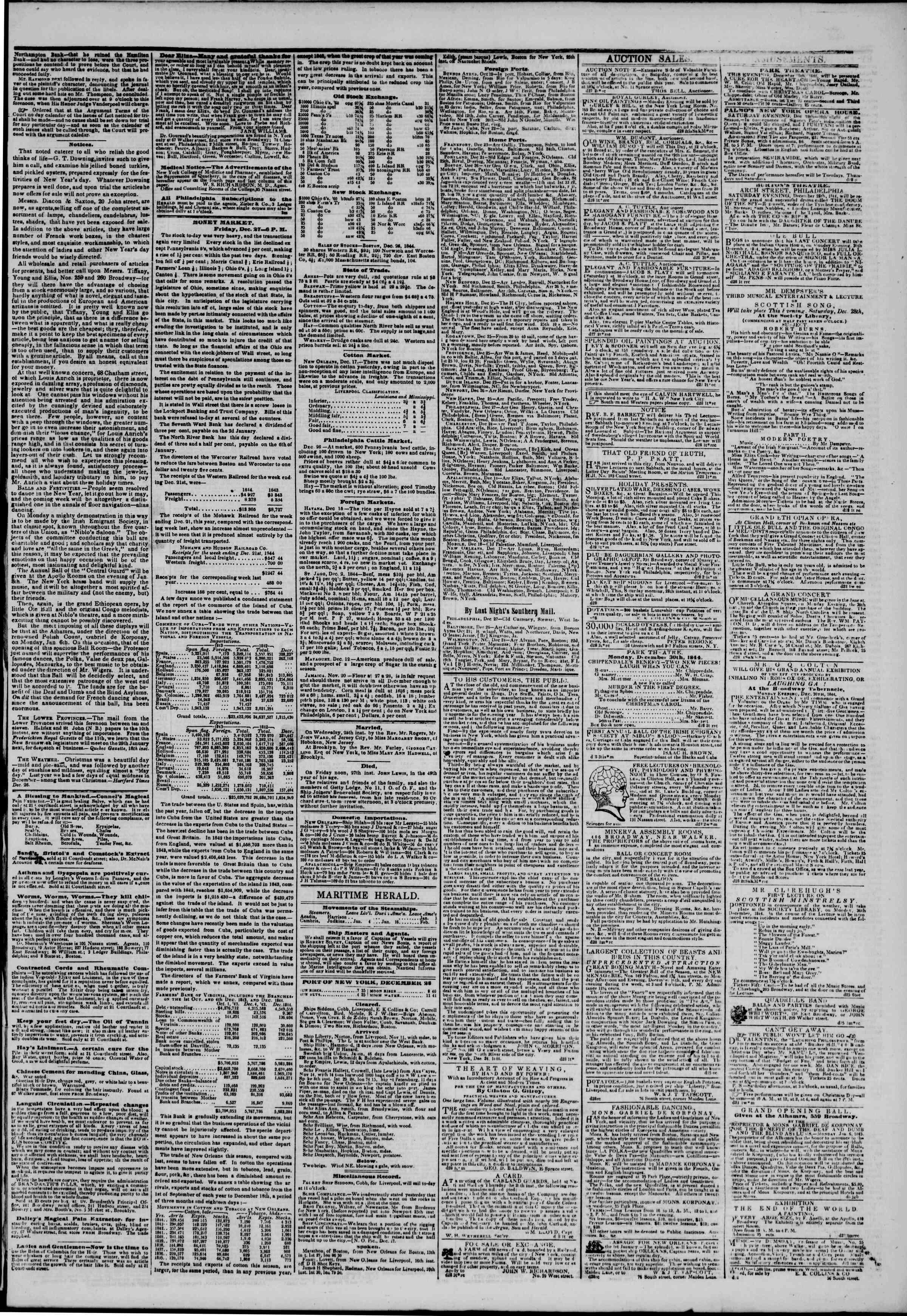 December 28, 1844 Tarihli The New York Herald Gazetesi Sayfa 3