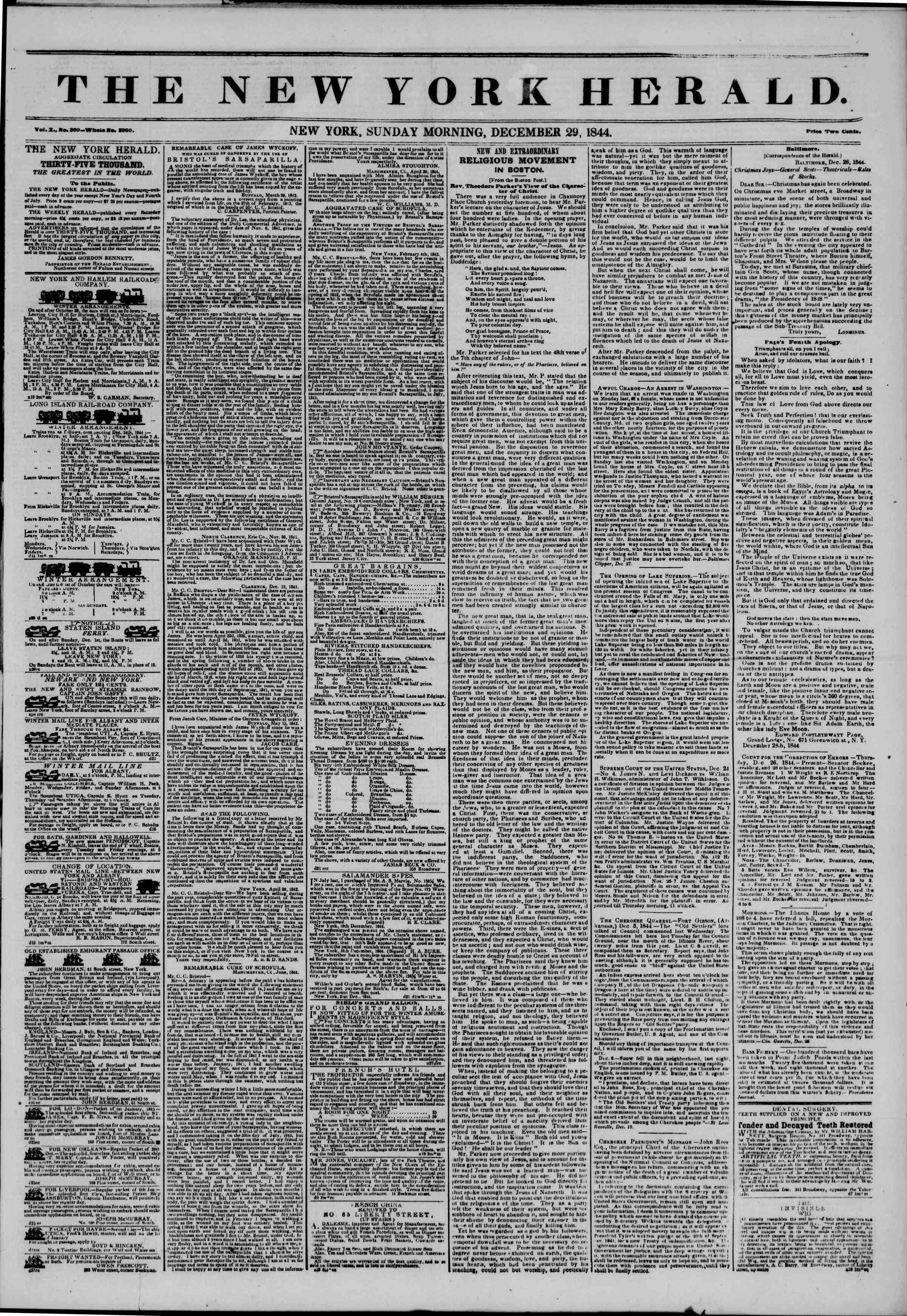 December 29, 1844 Tarihli The New York Herald Gazetesi Sayfa 1