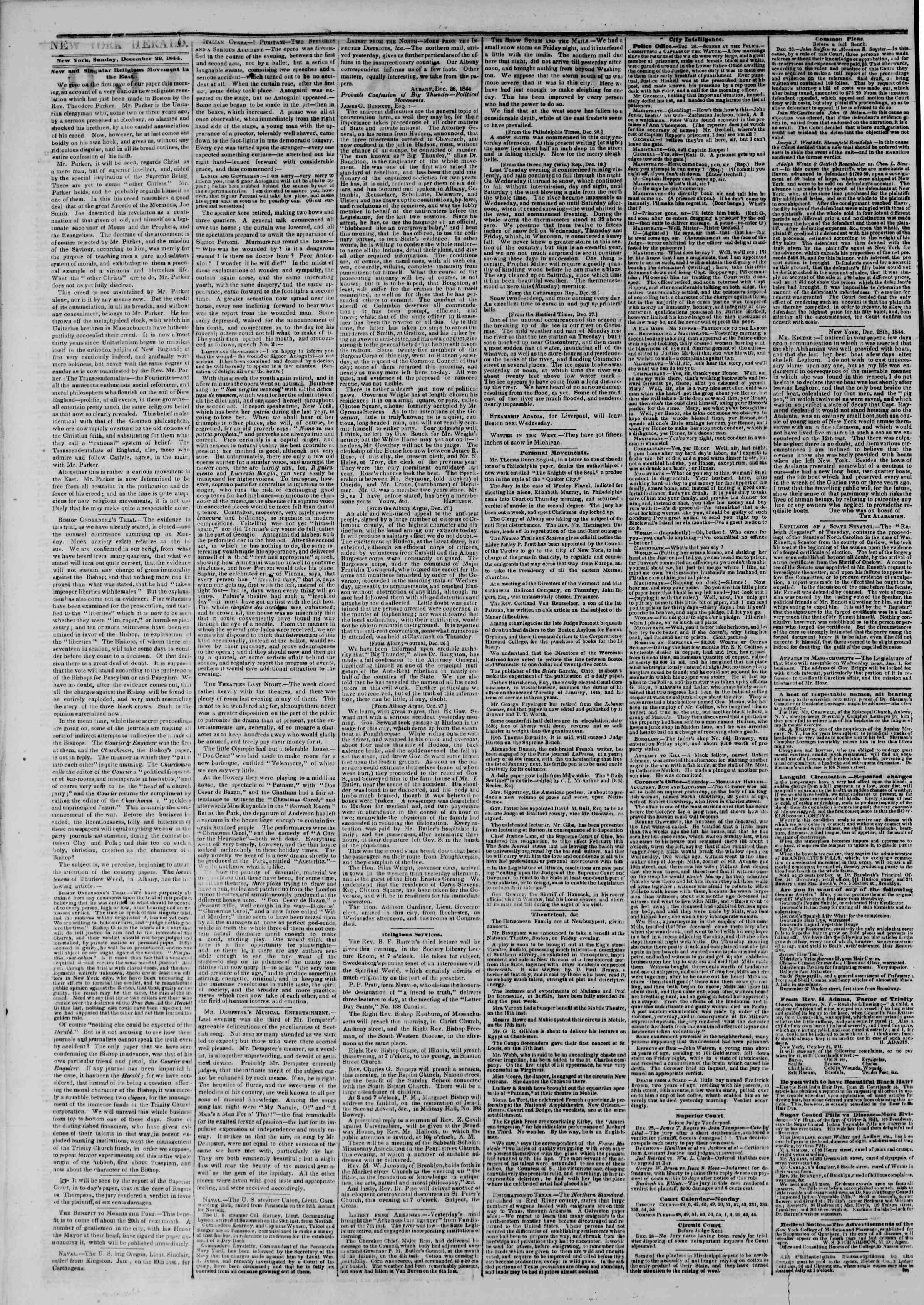 December 29, 1844 Tarihli The New York Herald Gazetesi Sayfa 2