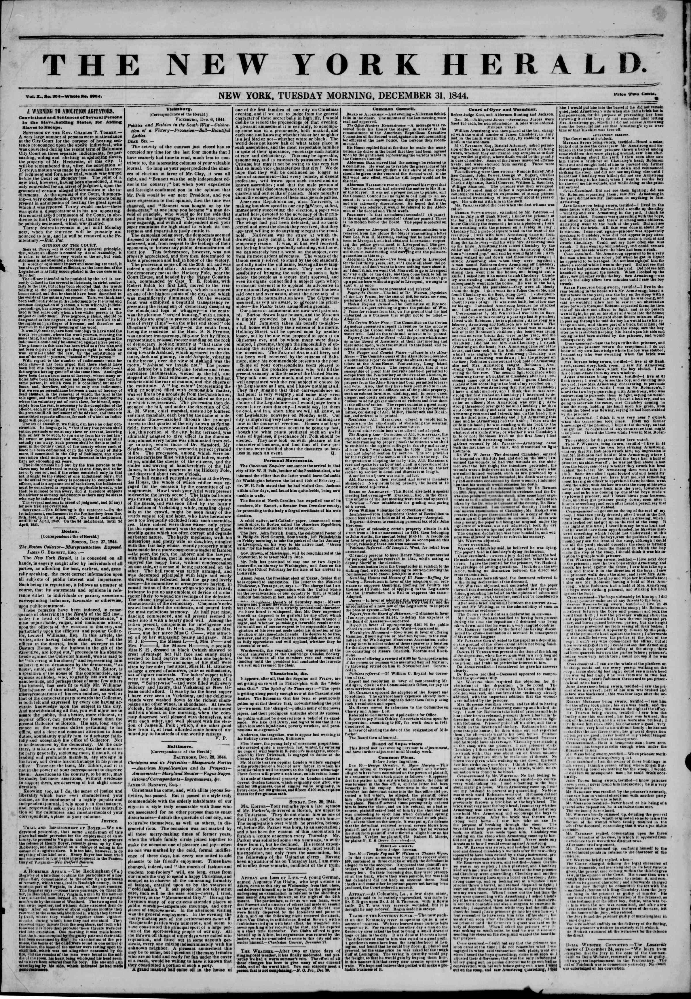 December 31, 1844 Tarihli The New York Herald Gazetesi Sayfa 1