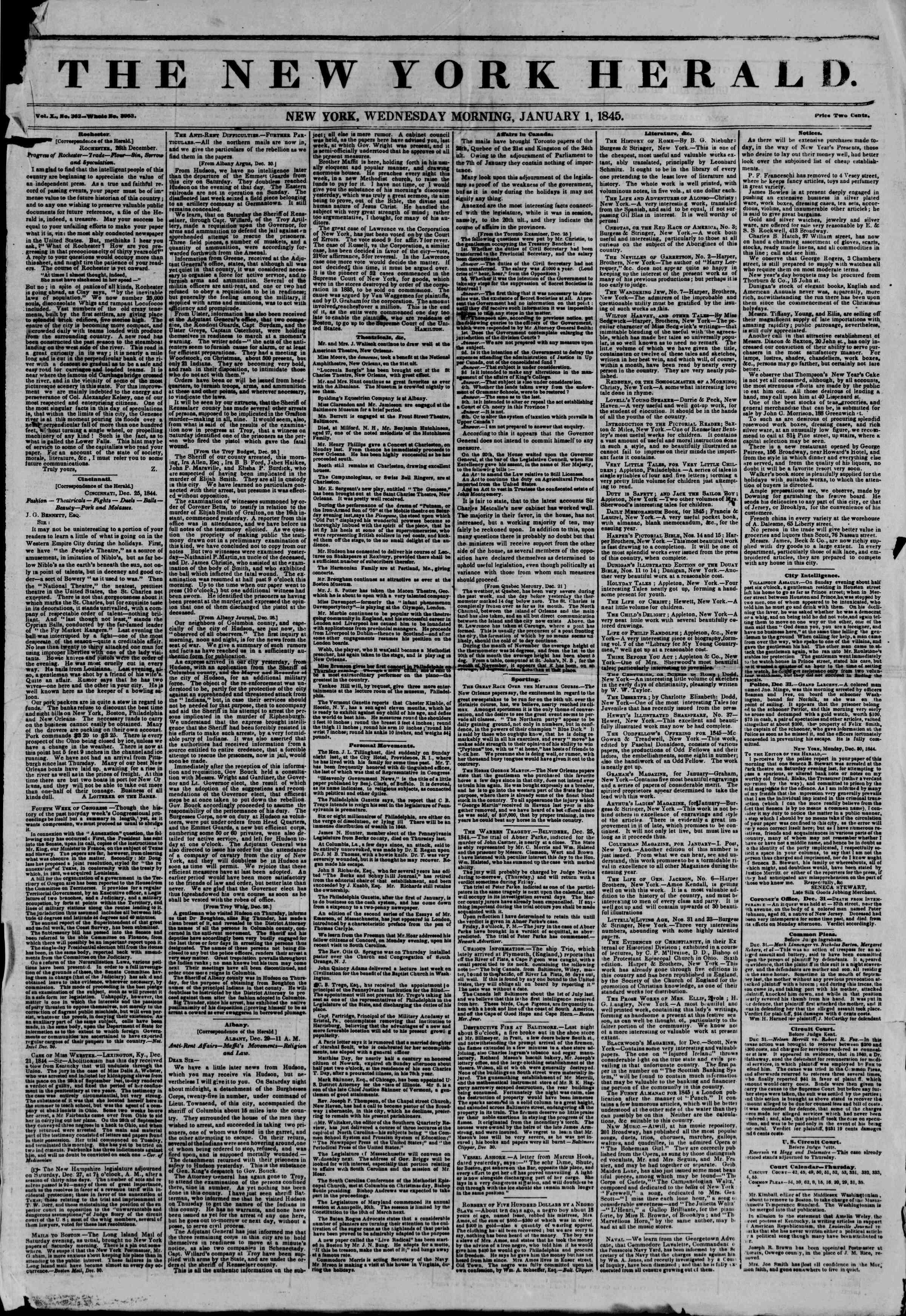 January 1, 1845 Tarihli The New York Herald Gazetesi Sayfa 1