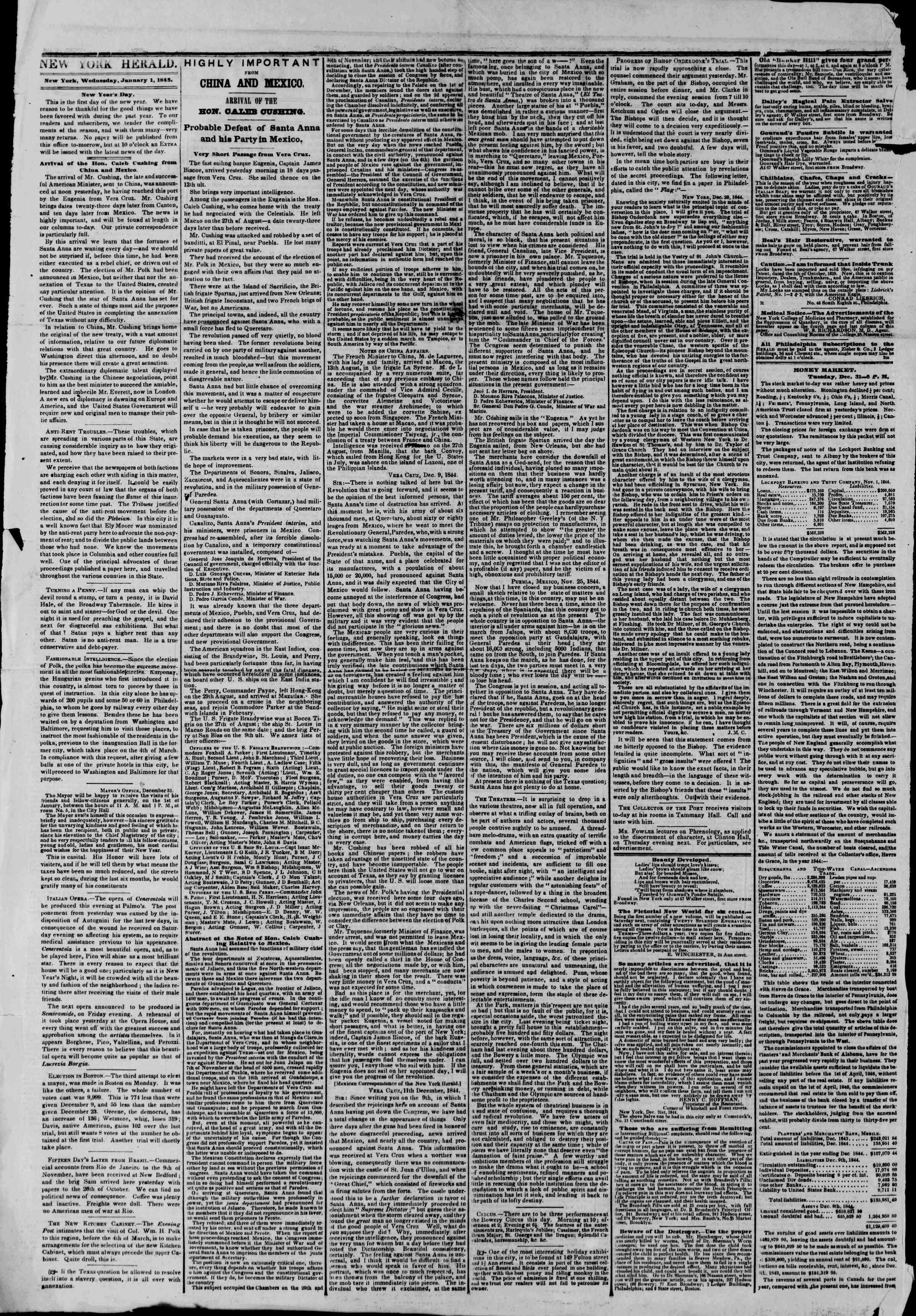 January 1, 1845 Tarihli The New York Herald Gazetesi Sayfa 2