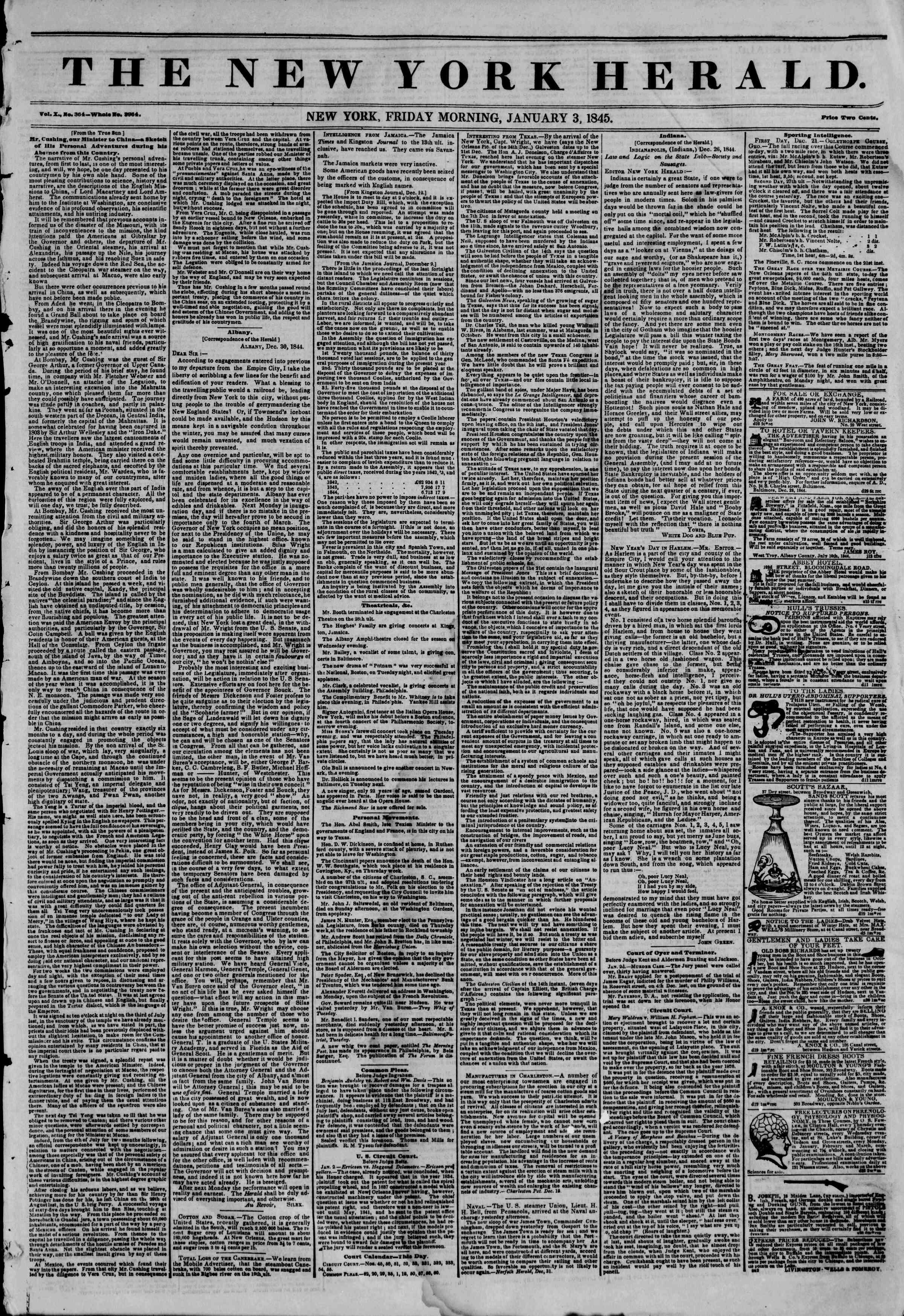 January 3, 1845 Tarihli The New York Herald Gazetesi Sayfa 1