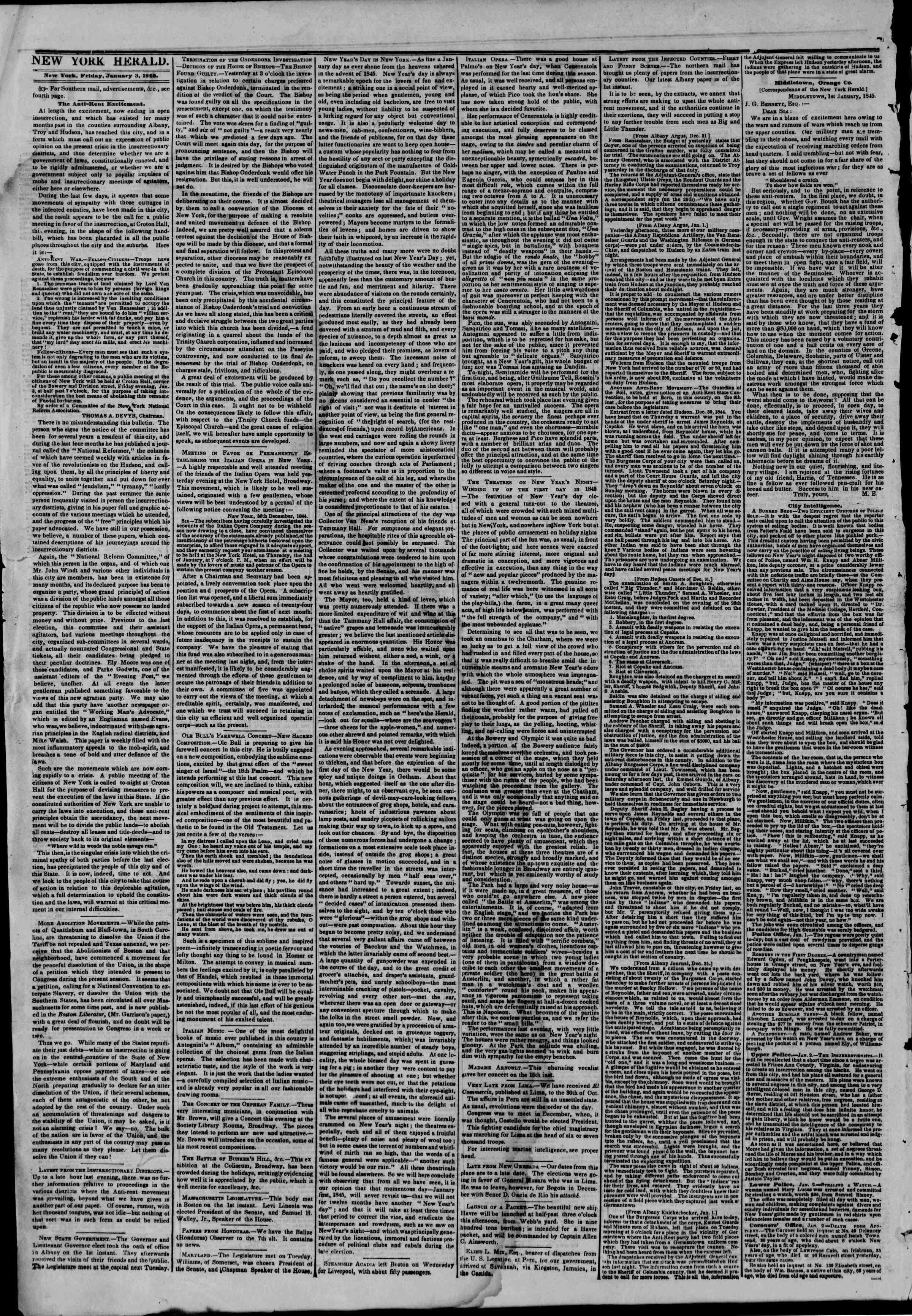 Newspaper of The New York Herald dated January 3, 1845 Page 2