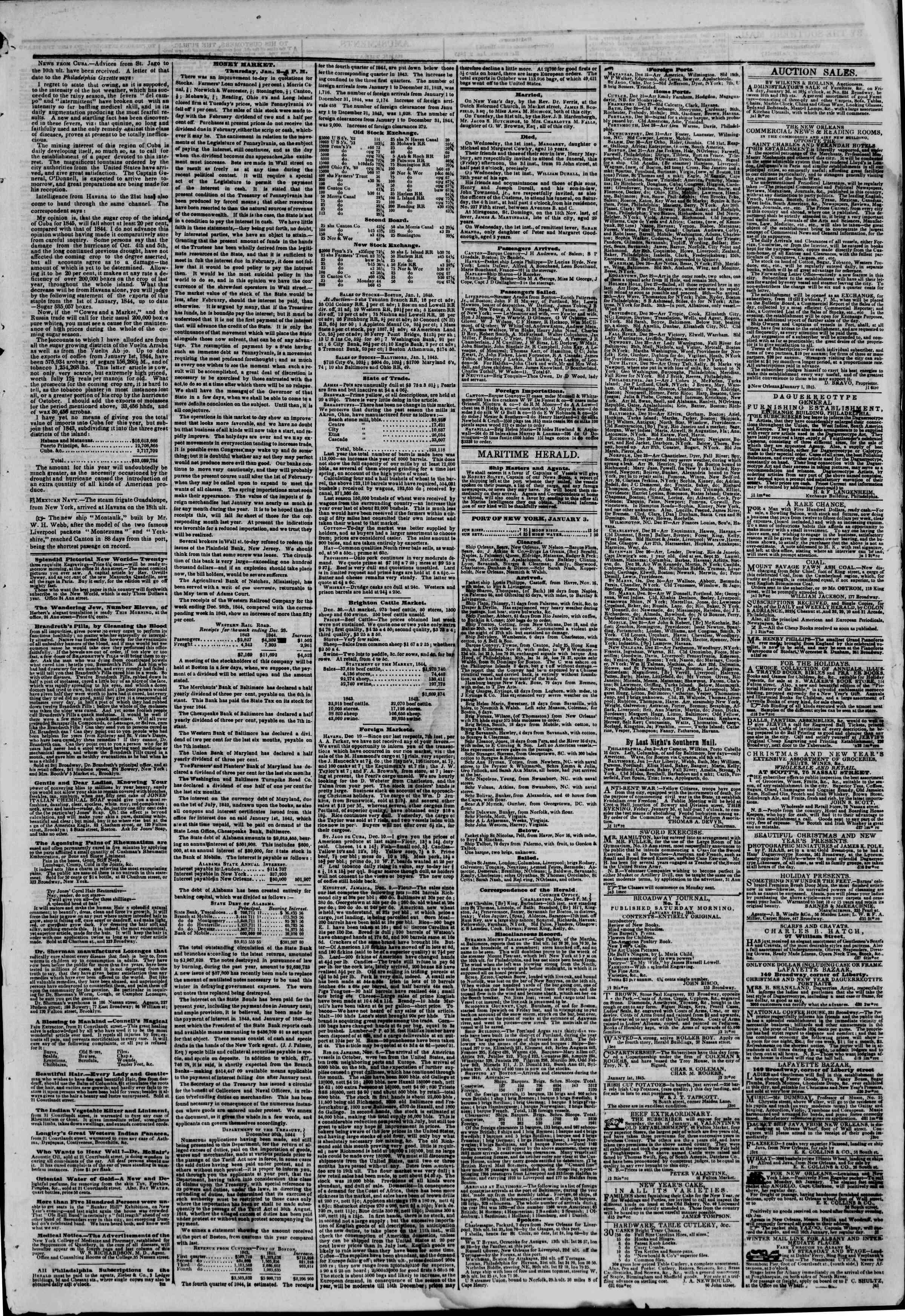 January 3, 1845 Tarihli The New York Herald Gazetesi Sayfa 3