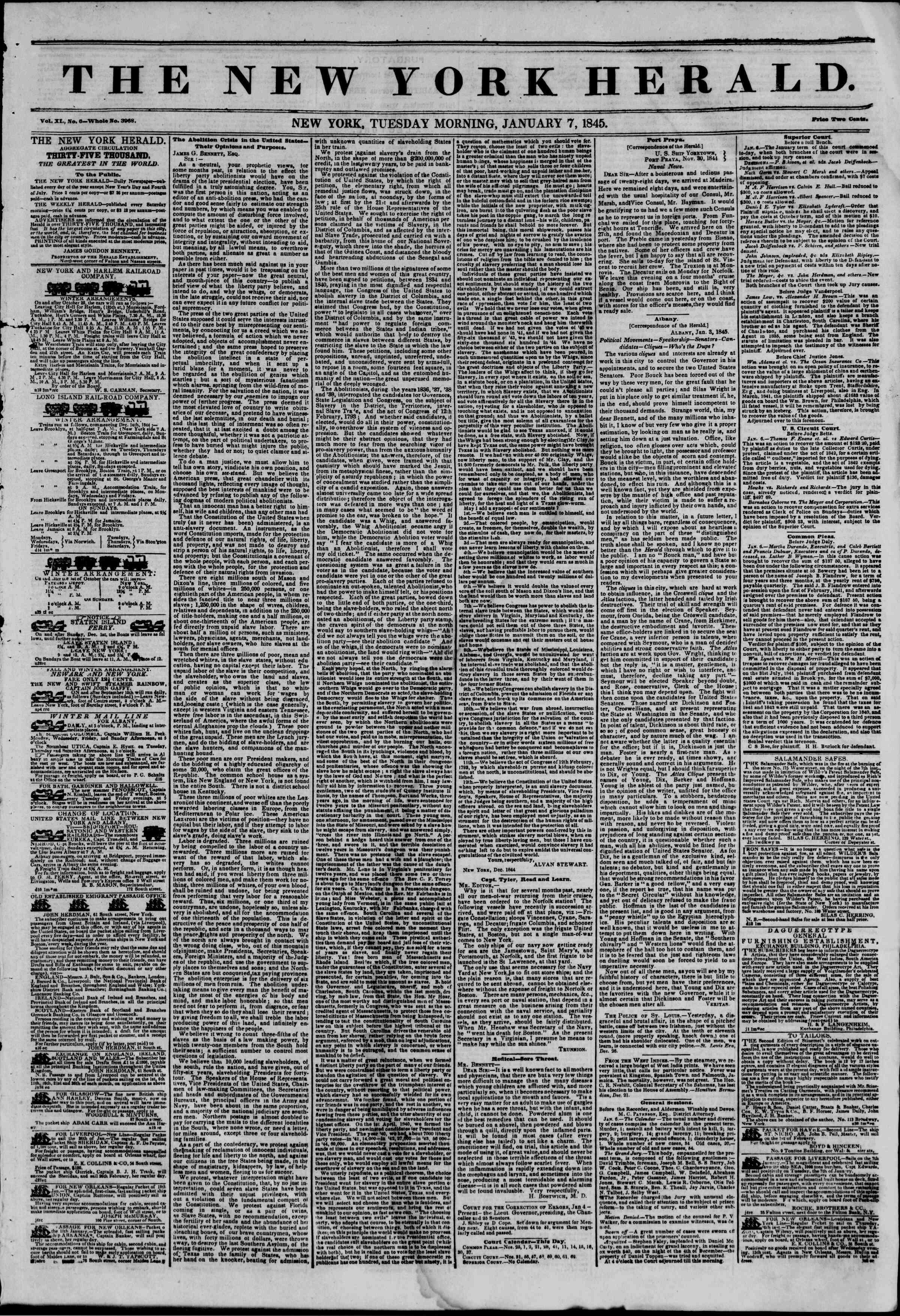 January 7, 1845 Tarihli The New York Herald Gazetesi Sayfa 1