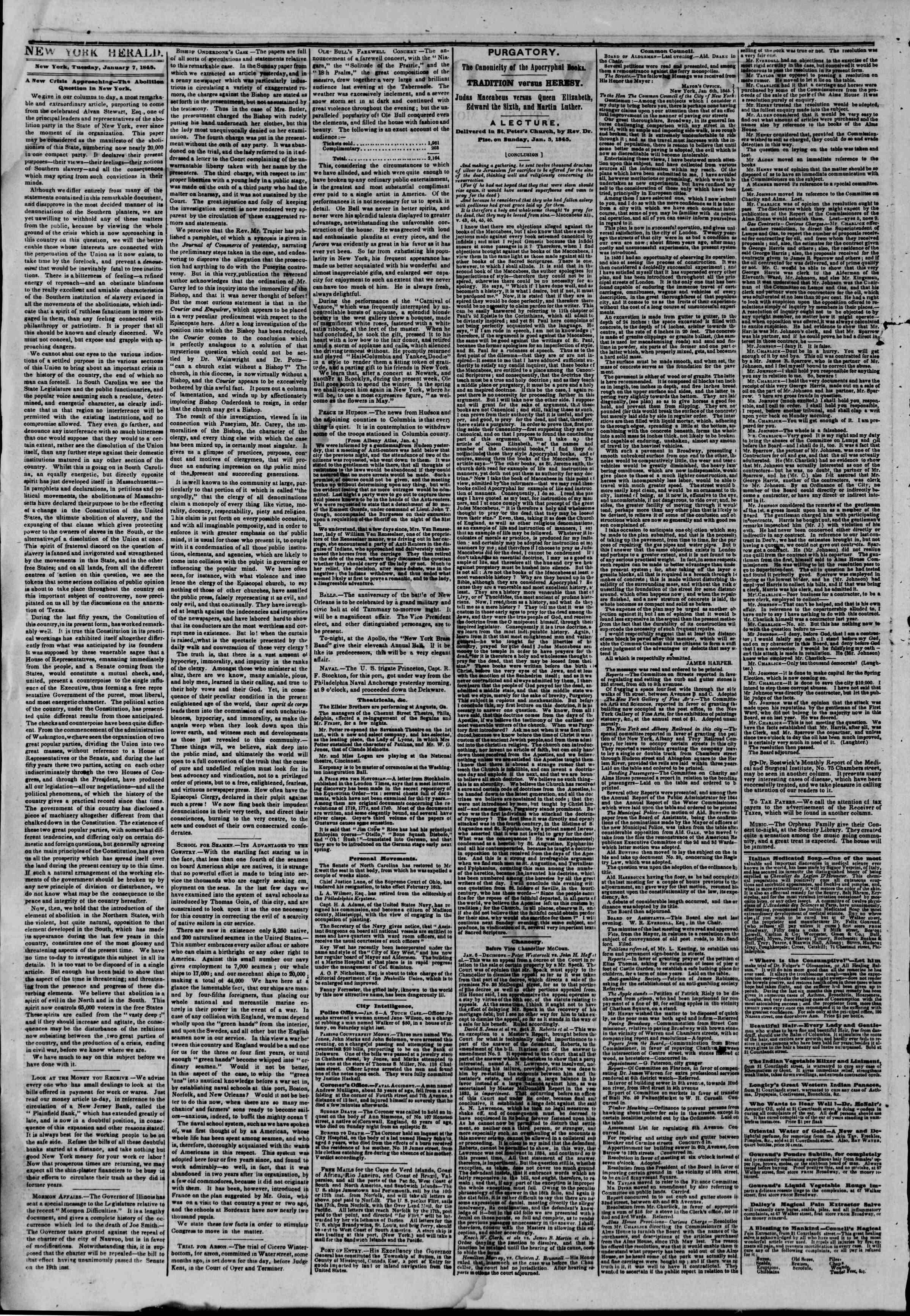 January 7, 1845 Tarihli The New York Herald Gazetesi Sayfa 2