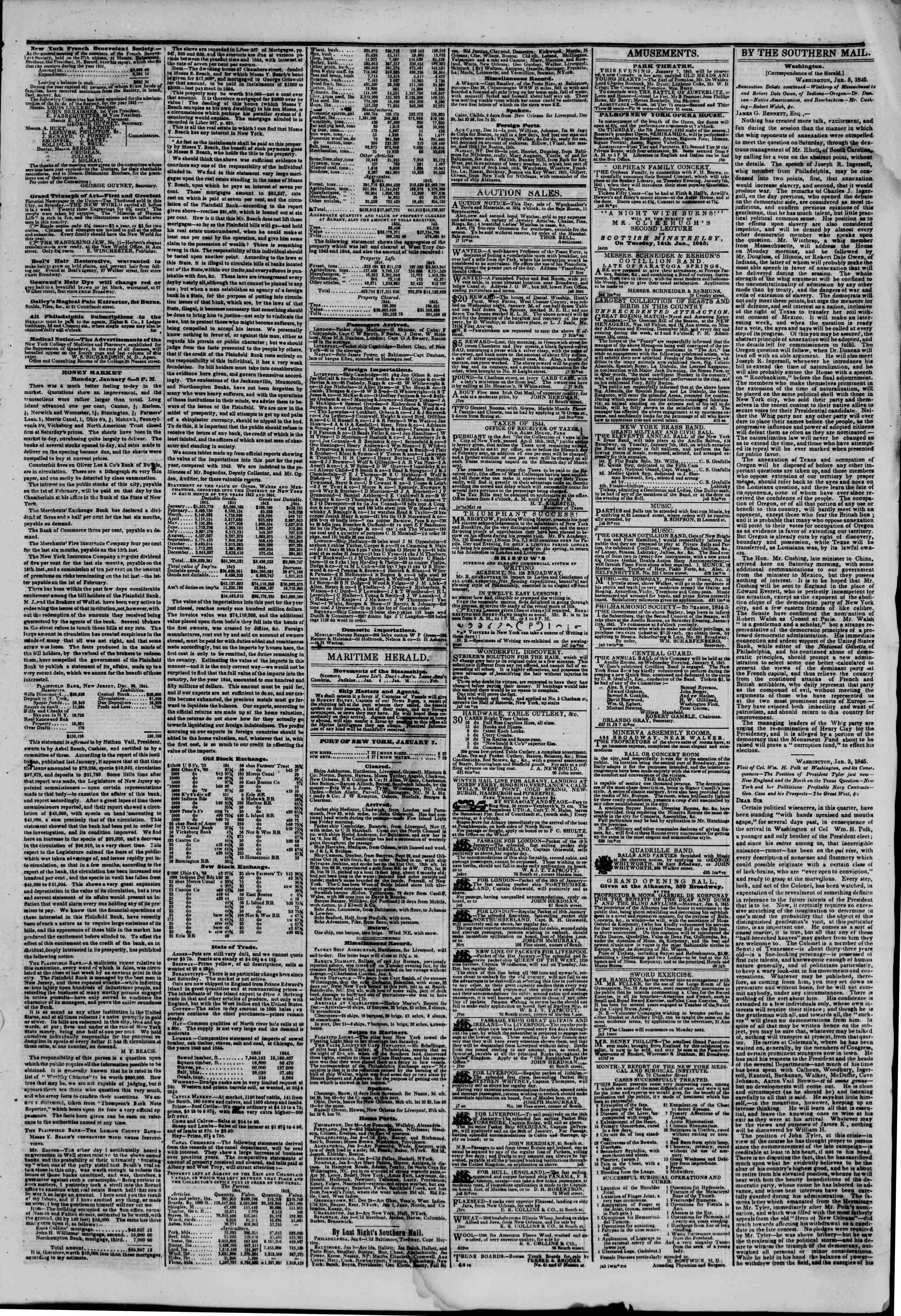 January 7, 1845 Tarihli The New York Herald Gazetesi Sayfa 3