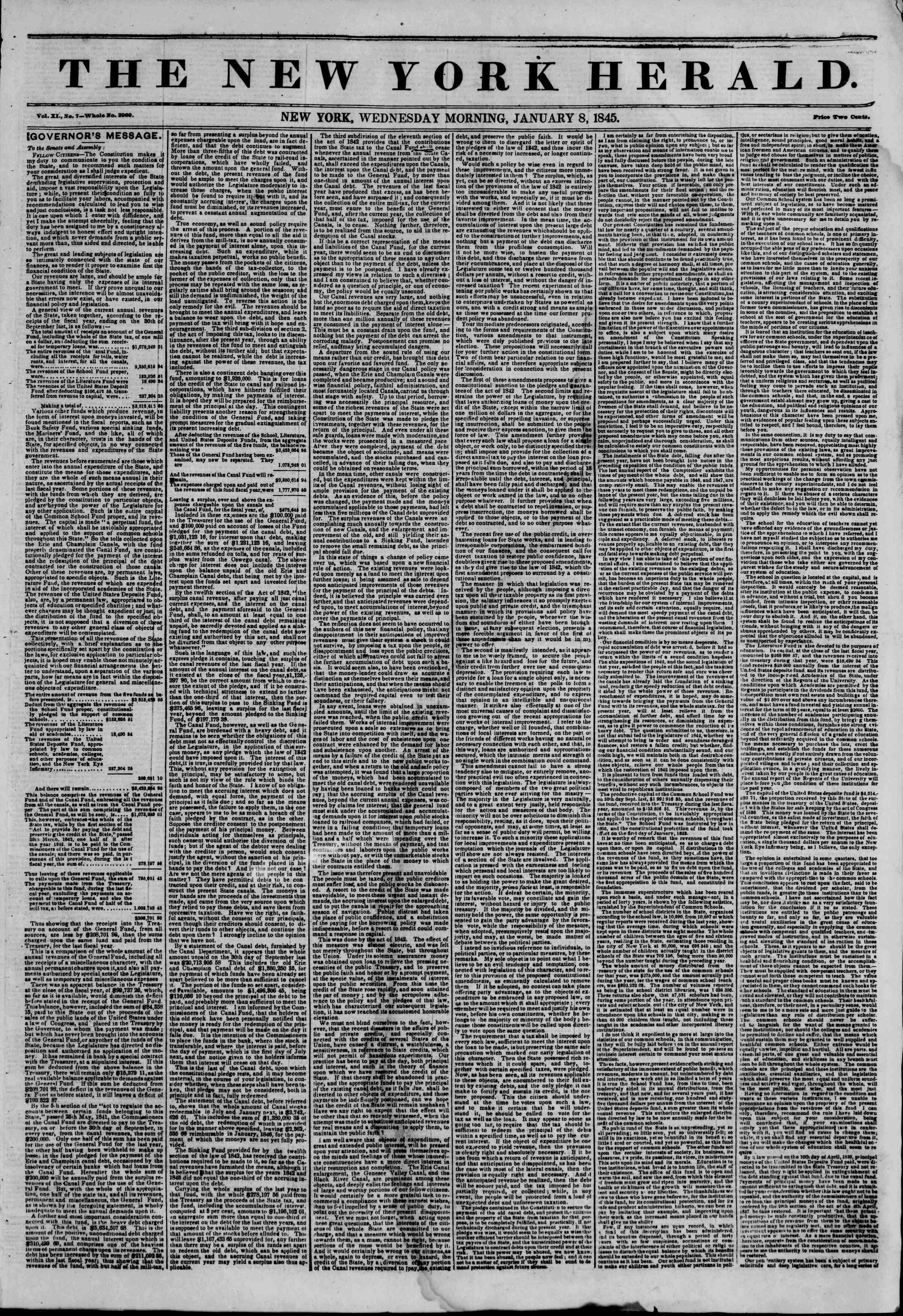 January 8, 1845 Tarihli The New York Herald Gazetesi Sayfa 1