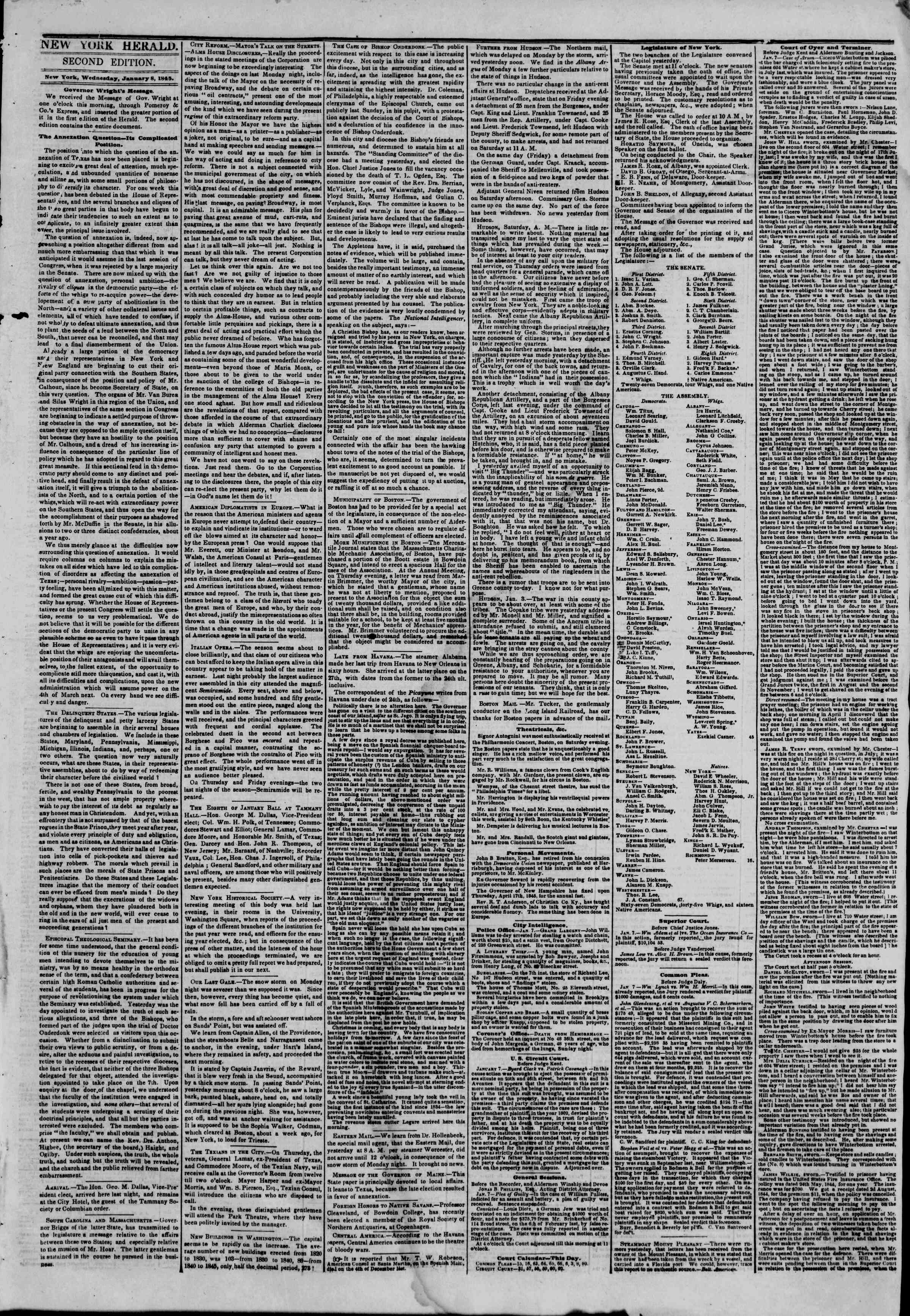 Newspaper of The New York Herald dated January 8, 1845 Page 3