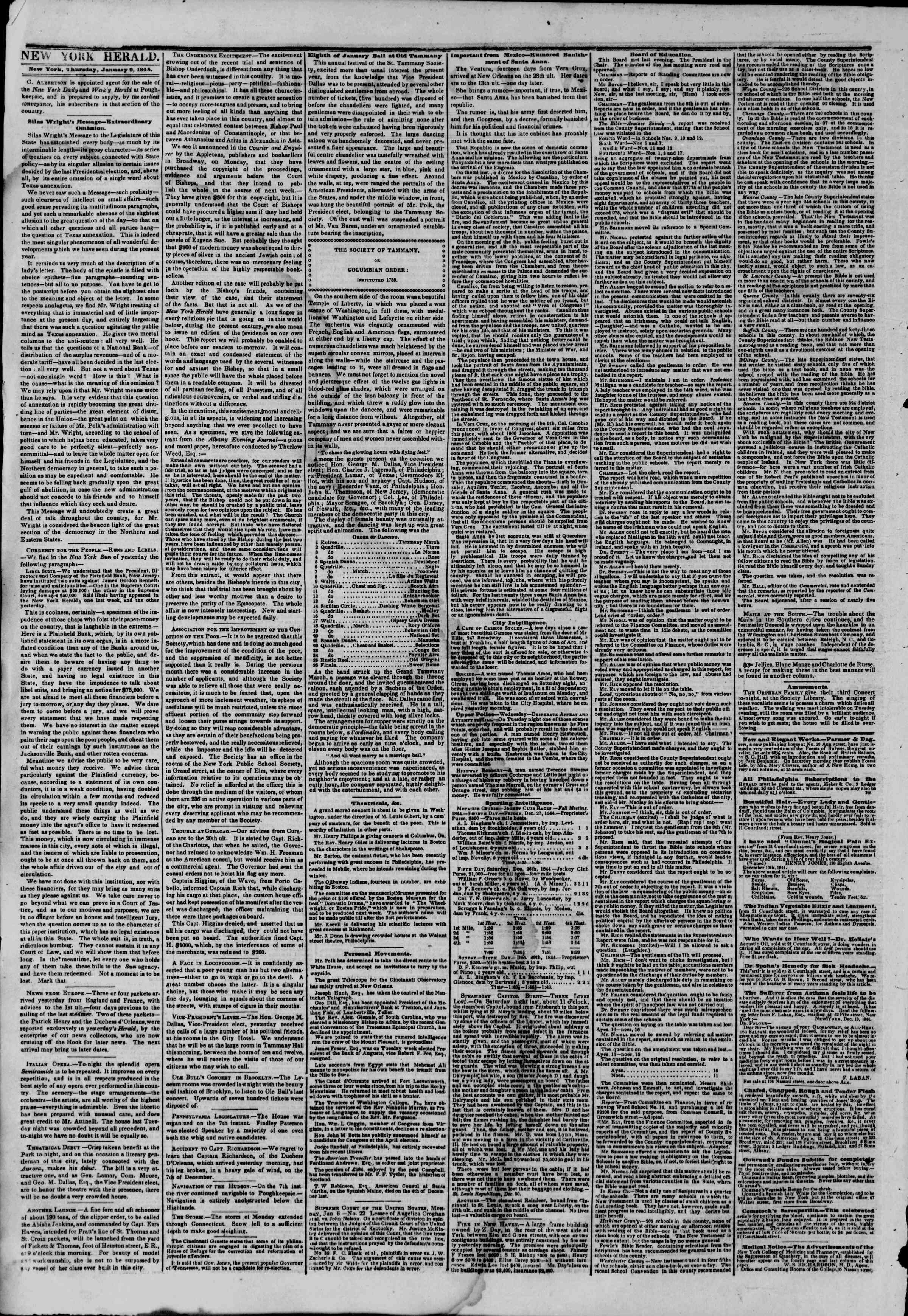 Newspaper of The New York Herald dated January 9, 1845 Page 2