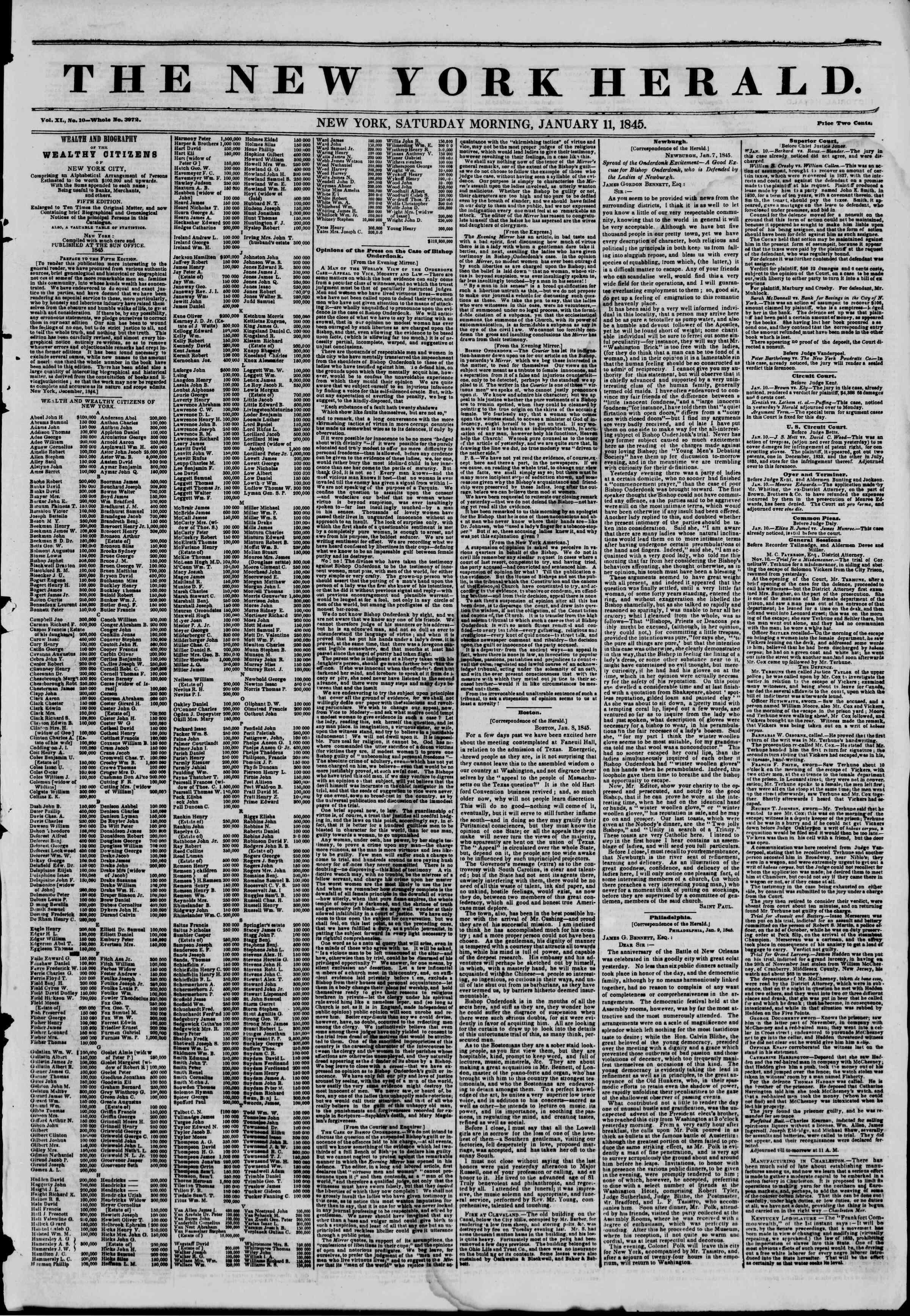 January 11, 1845 Tarihli The New York Herald Gazetesi Sayfa 1