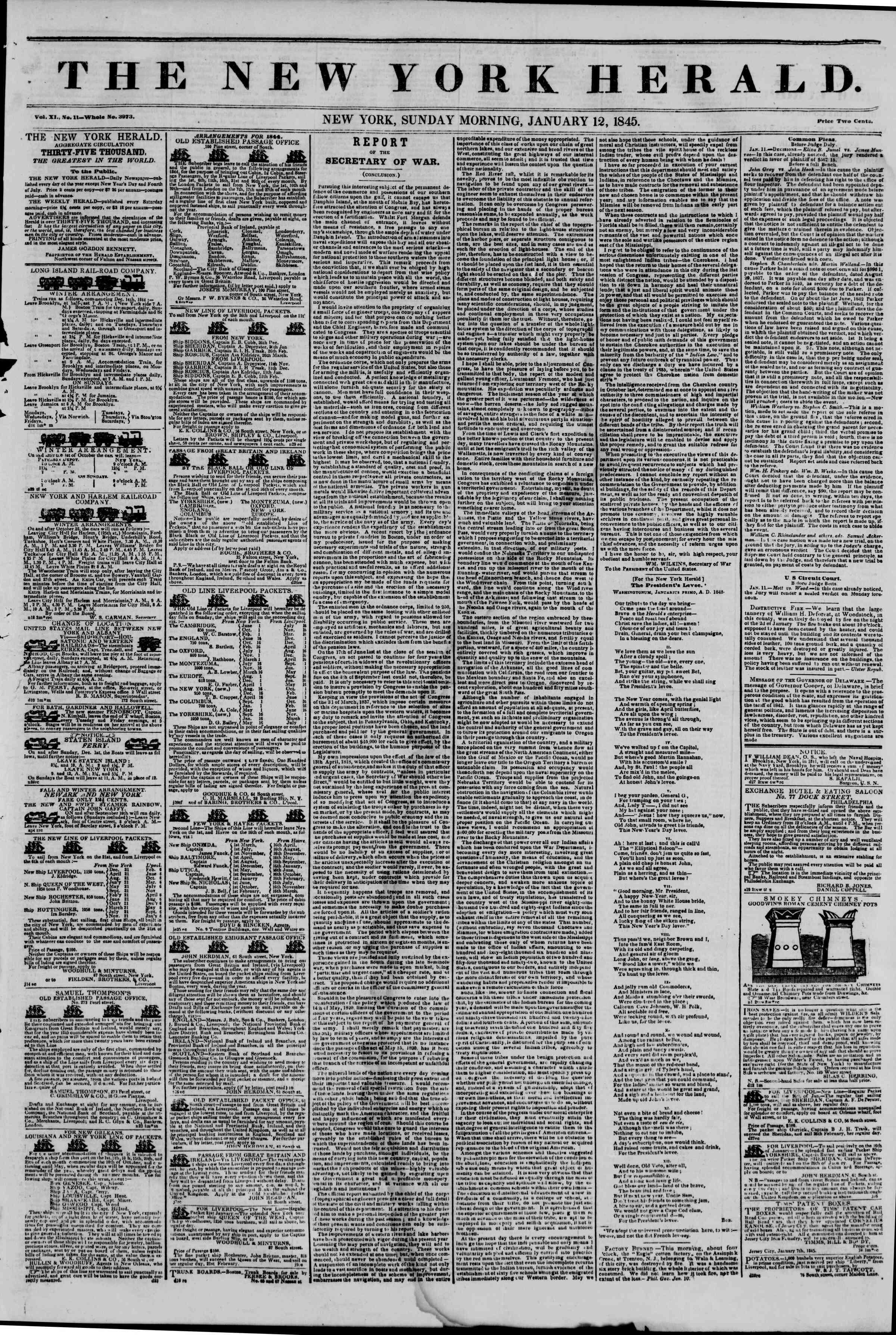 January 12, 1845 Tarihli The New York Herald Gazetesi Sayfa 1