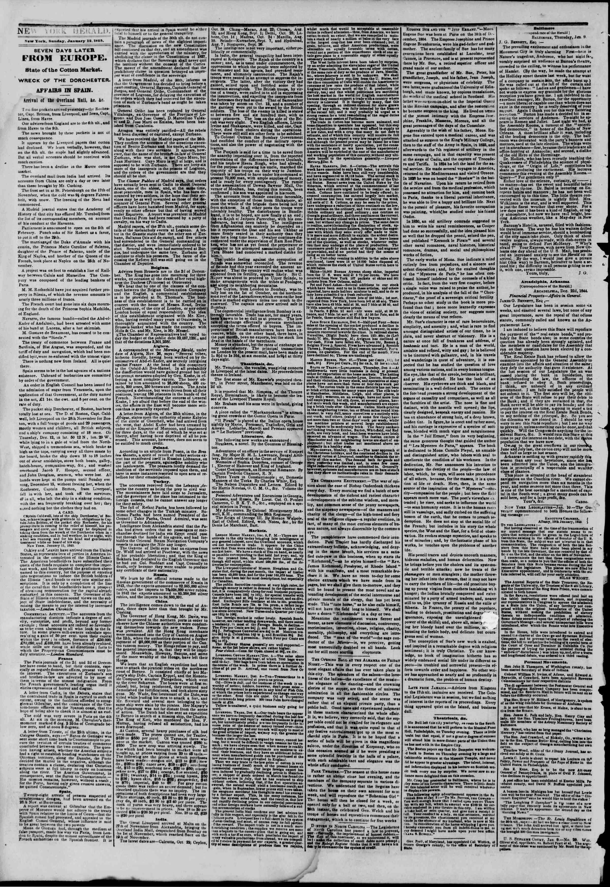 Newspaper of The New York Herald dated January 12, 1845 Page 2