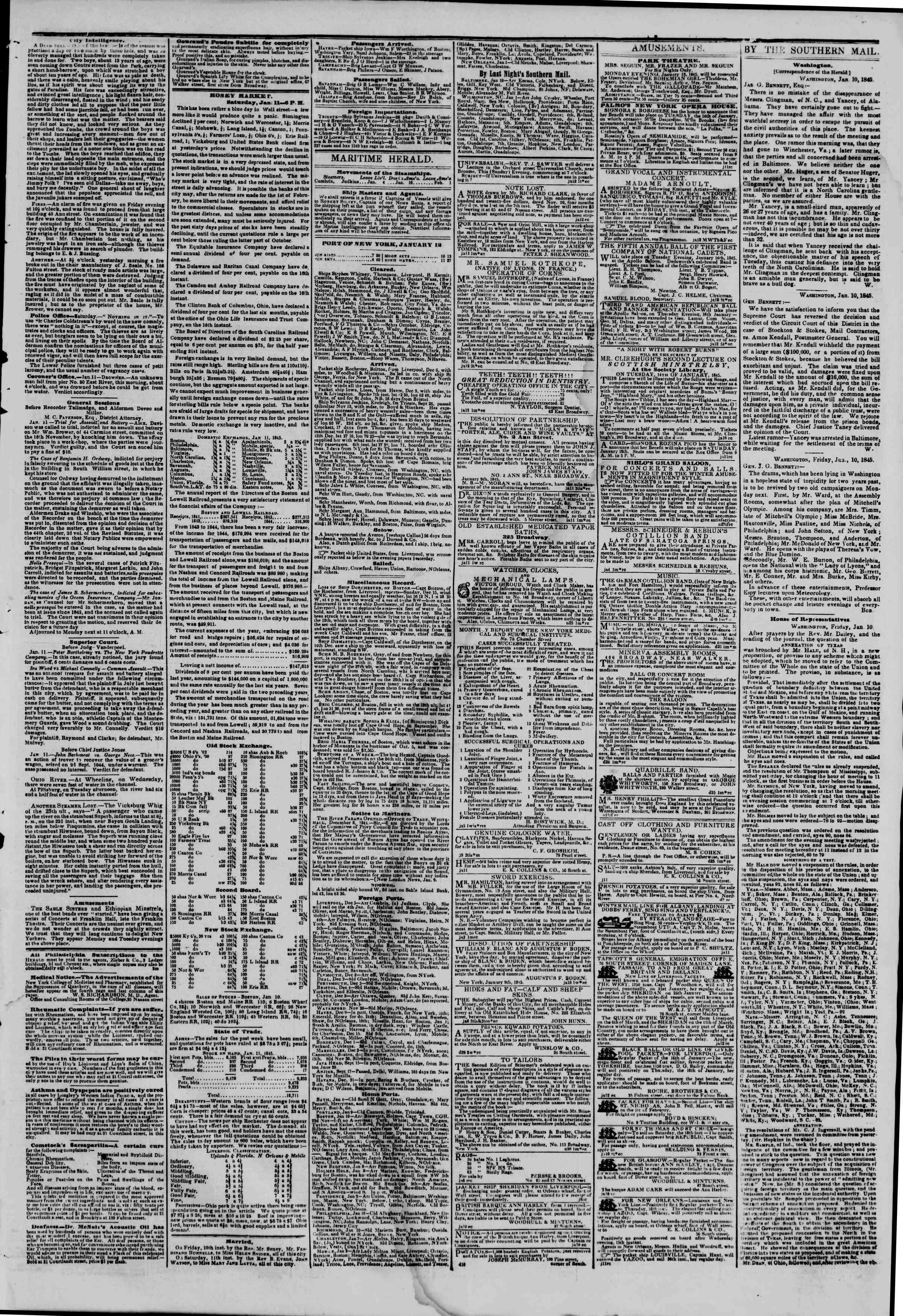 January 12, 1845 Tarihli The New York Herald Gazetesi Sayfa 3