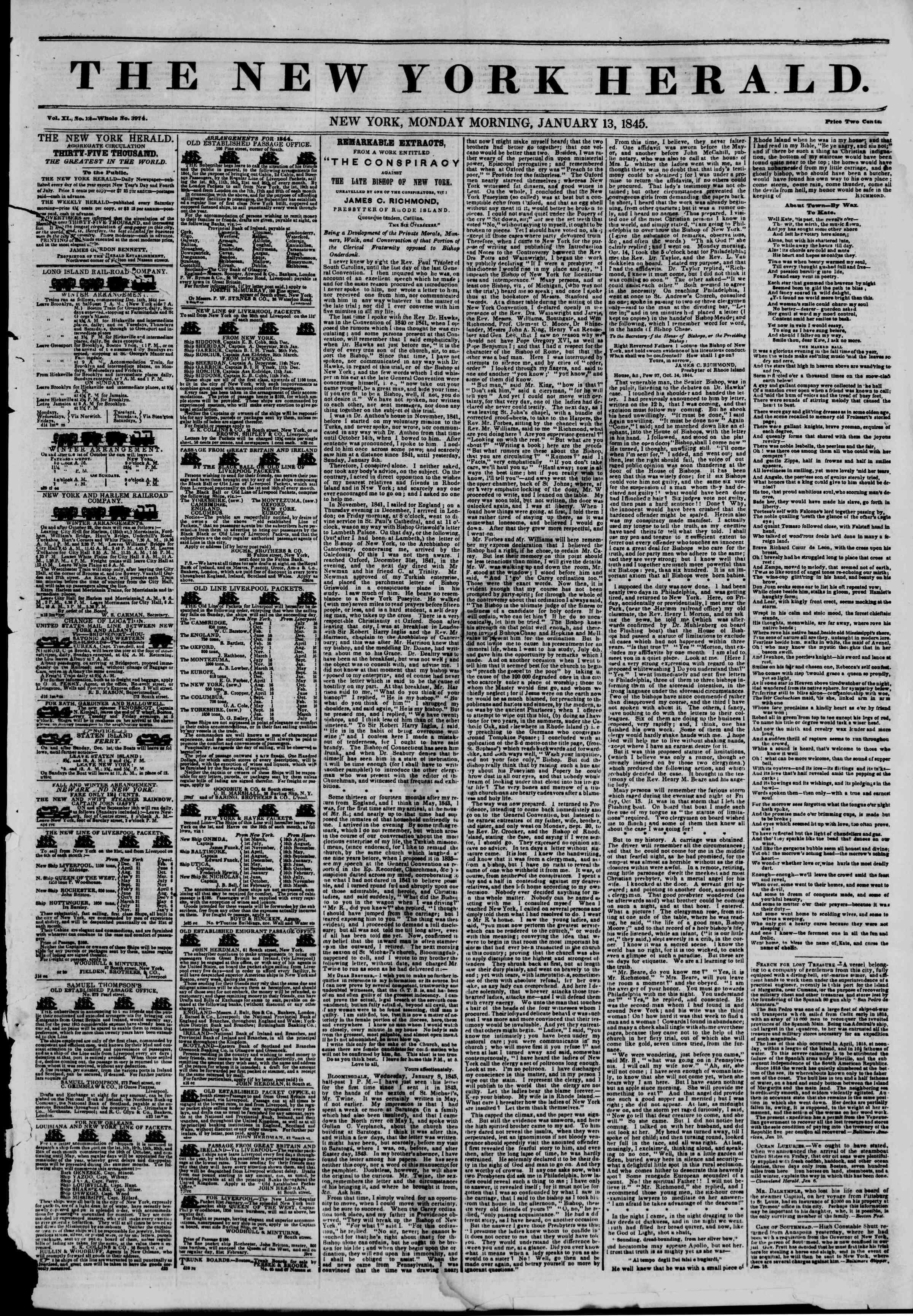 January 13, 1845 Tarihli The New York Herald Gazetesi Sayfa 1