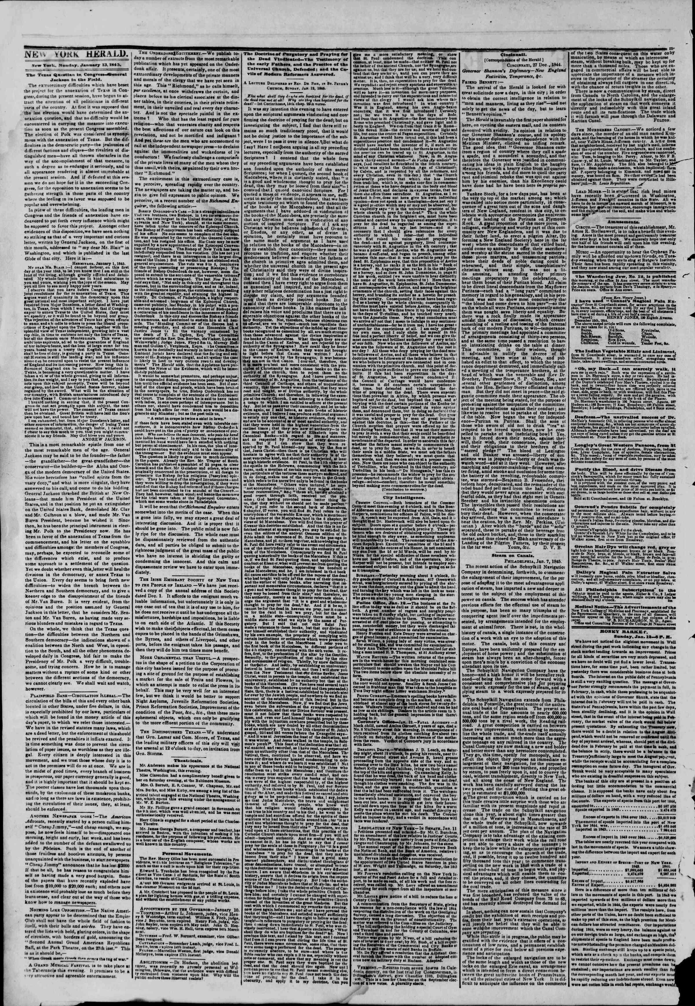 January 13, 1845 Tarihli The New York Herald Gazetesi Sayfa 2