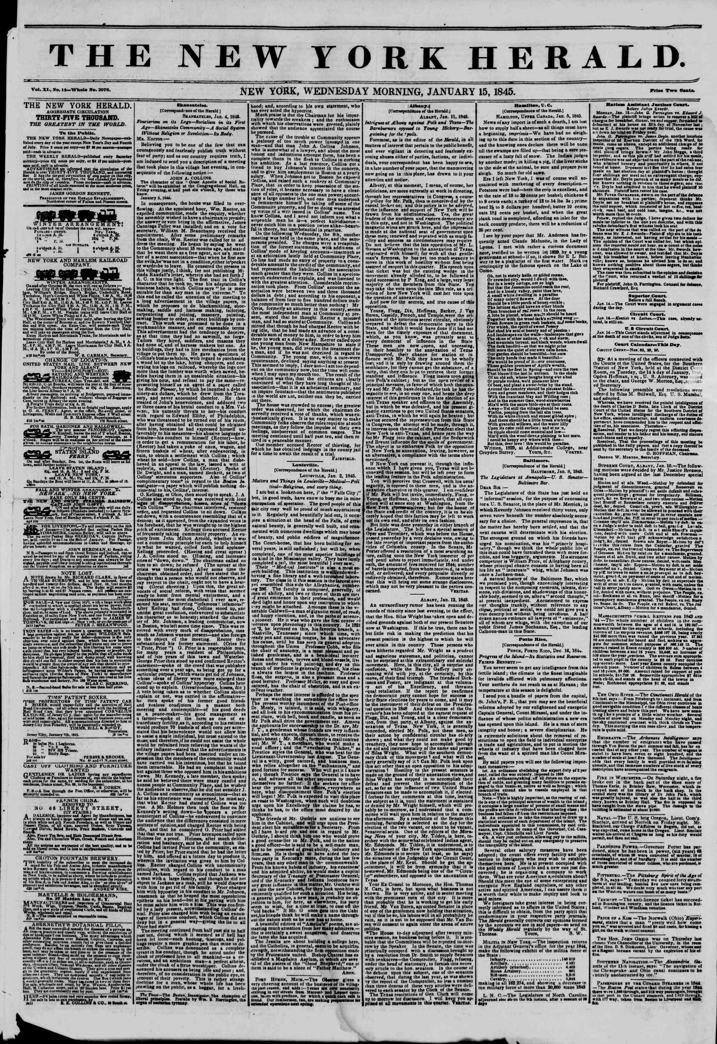 January 15, 1845 Tarihli The New York Herald Gazetesi Sayfa 1