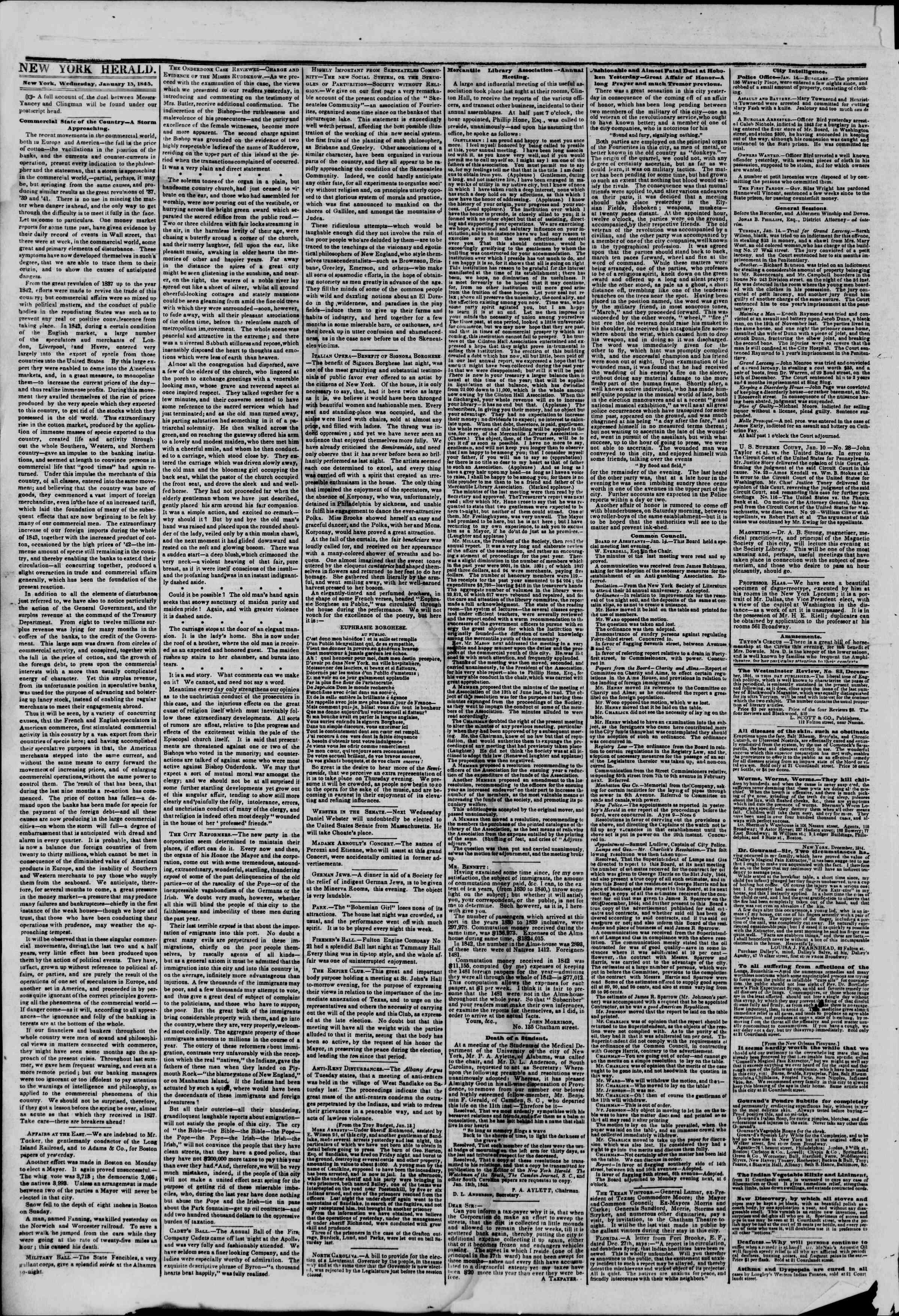 January 15, 1845 Tarihli The New York Herald Gazetesi Sayfa 2