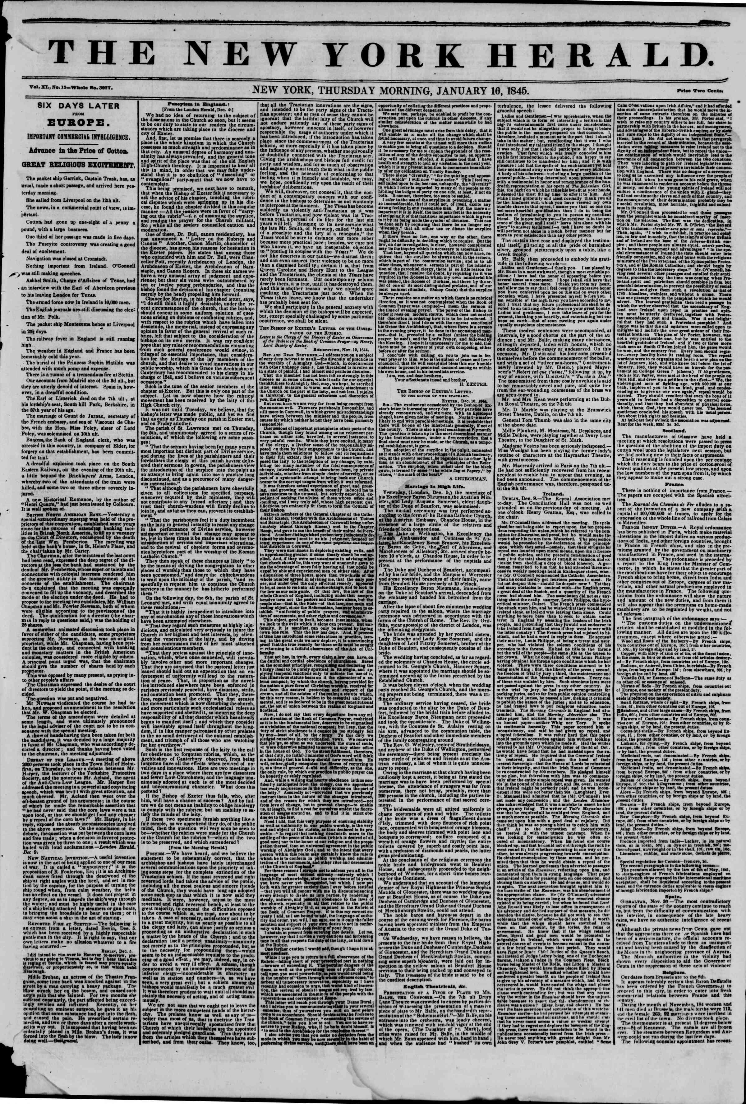 January 16, 1845 Tarihli The New York Herald Gazetesi Sayfa 1